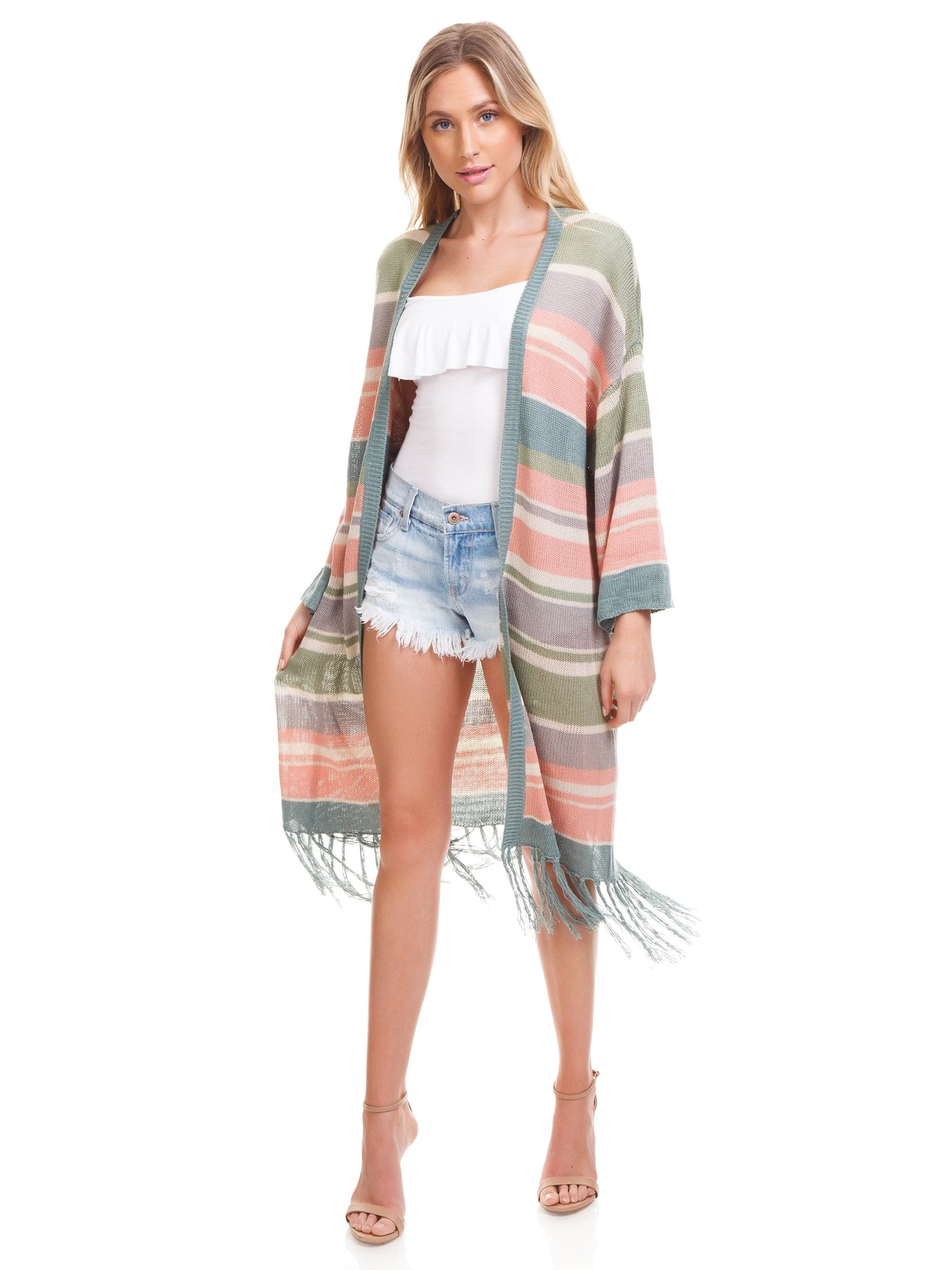 Woman wearing a sweater rental from Show Me Your Mumu called Maude Fringe Cardigan