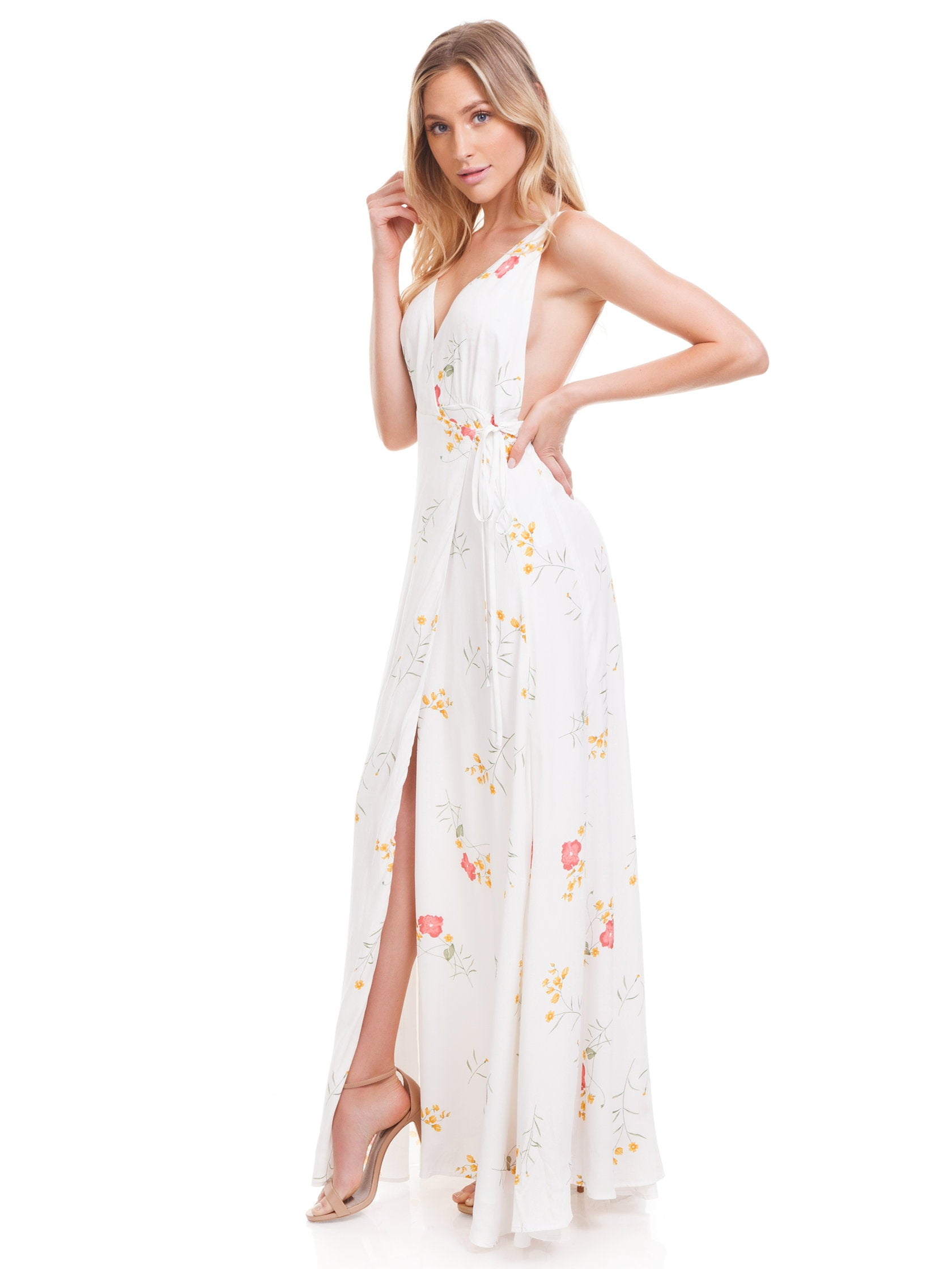 Woman wearing a dress rental from Capulet called Maxine Maxi Dress