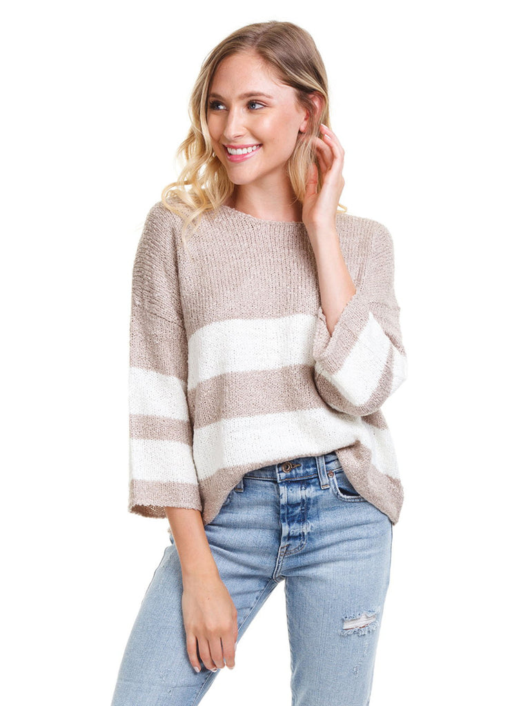 Women wearing a sweater rental from FashionPass called Melissa Striped Sweater