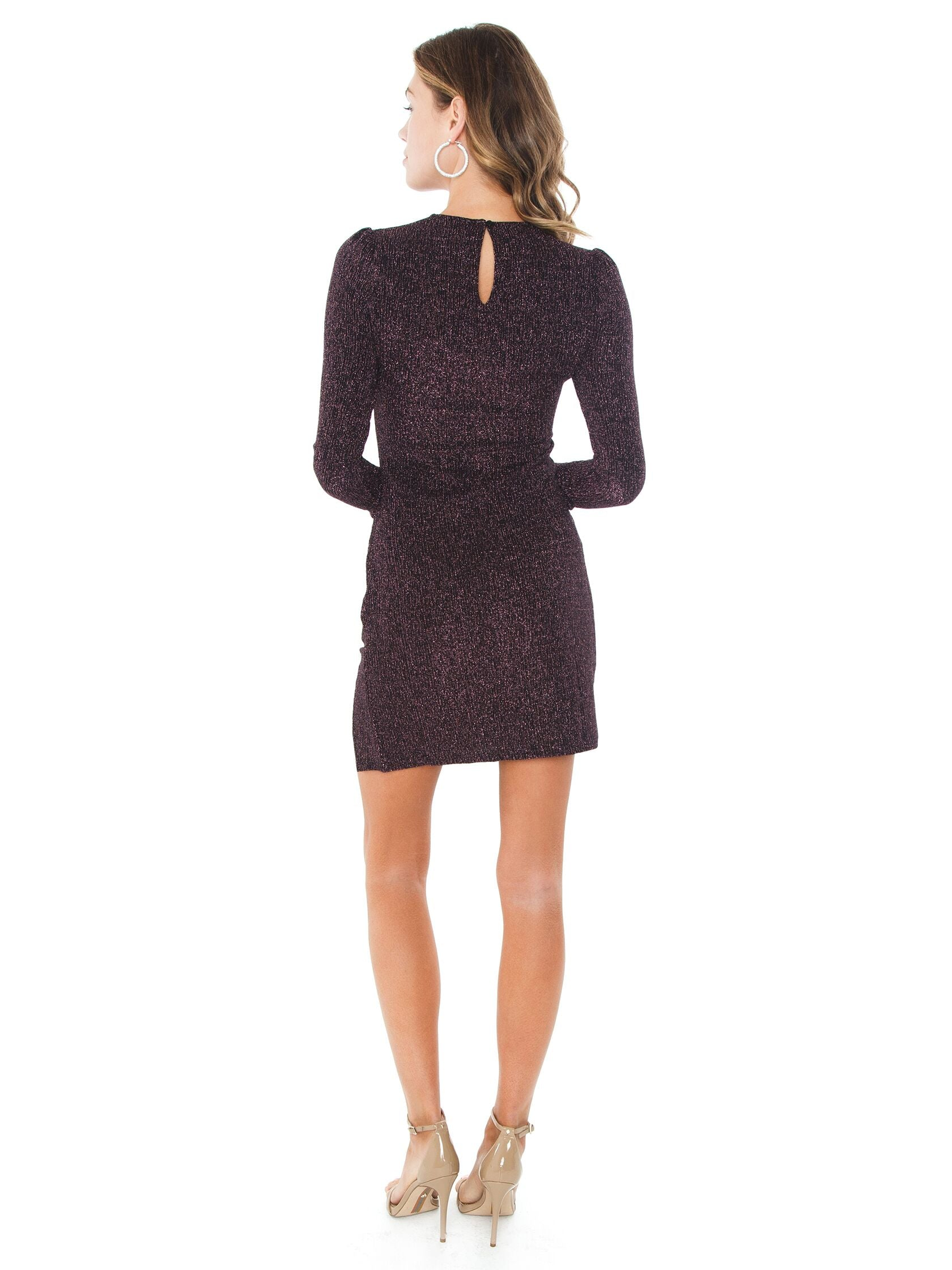 Women wearing a dress rental from MINKPINK called Metallic Texture Mini Dress