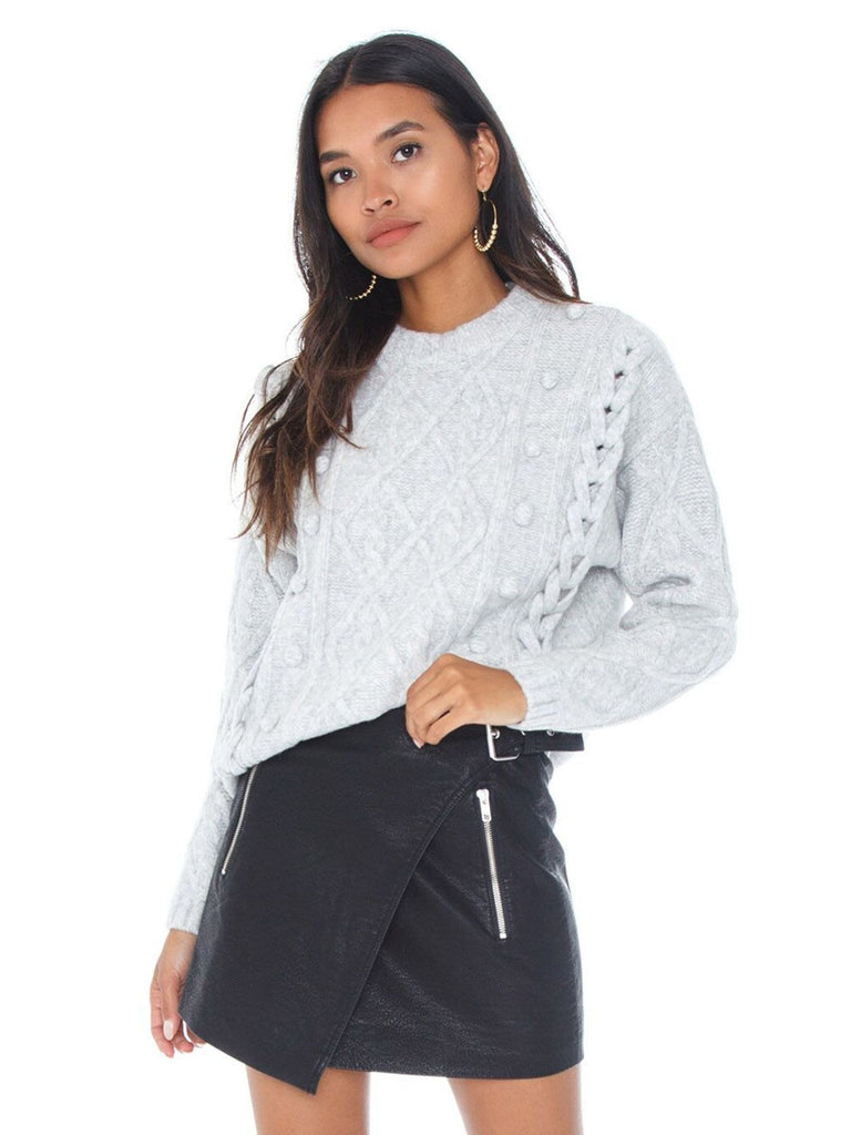 Women outfit in a sweater rental from Line & Dot called Claude Faux Snakeskin Mini Skirt
