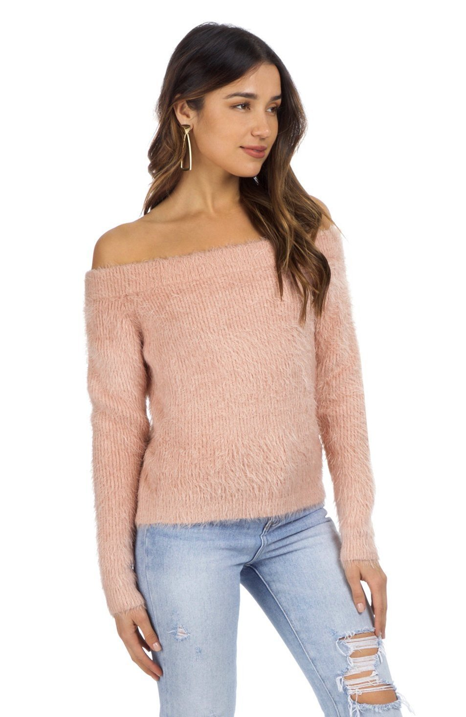Woman wearing a sweater rental from MINKPINK called Florentine Off Shoulder Sweater