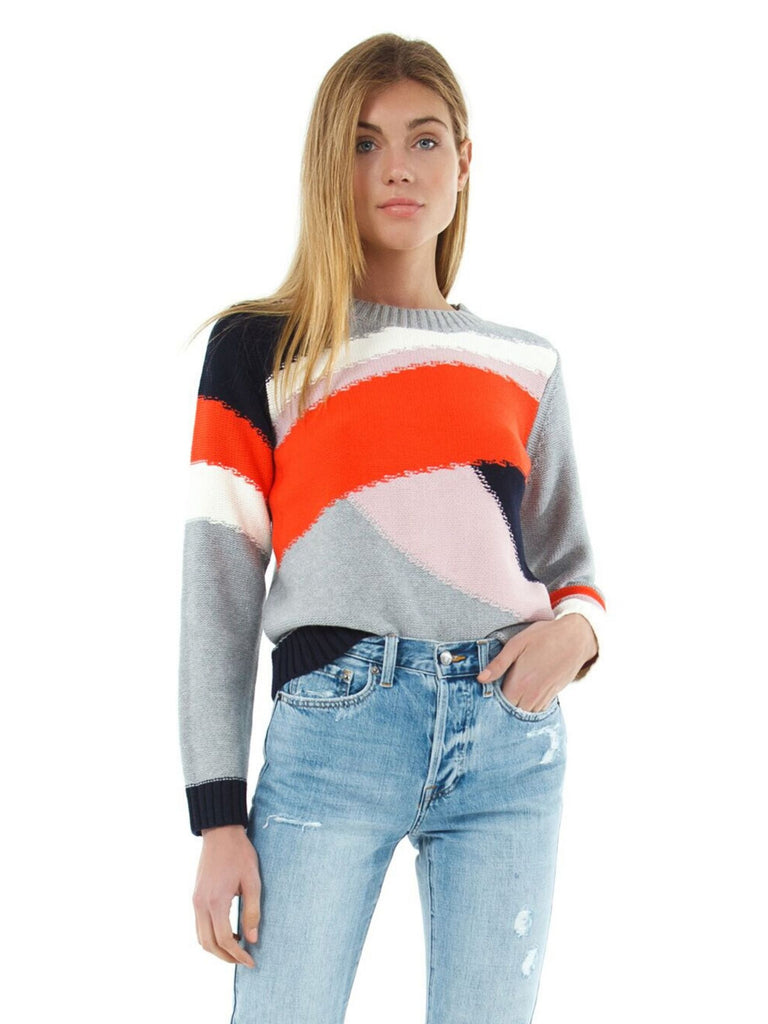 Women wearing a sweater rental from 1.STATE called Mixed Colorblock Crewneck Sweater