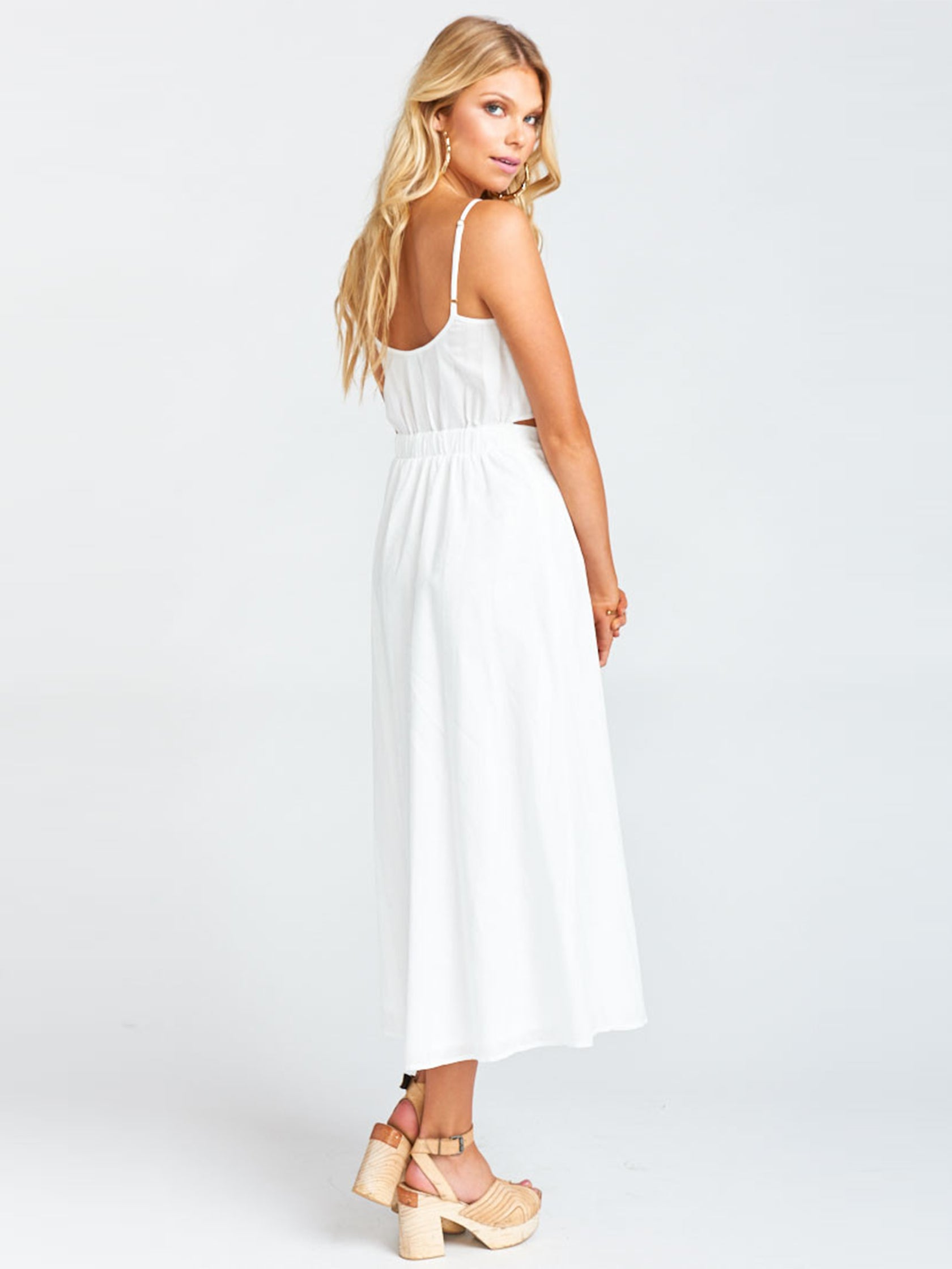 Women outfit in a dress rental from Show Me Your Mumu called Moby Tie Maxi - White Tulip
