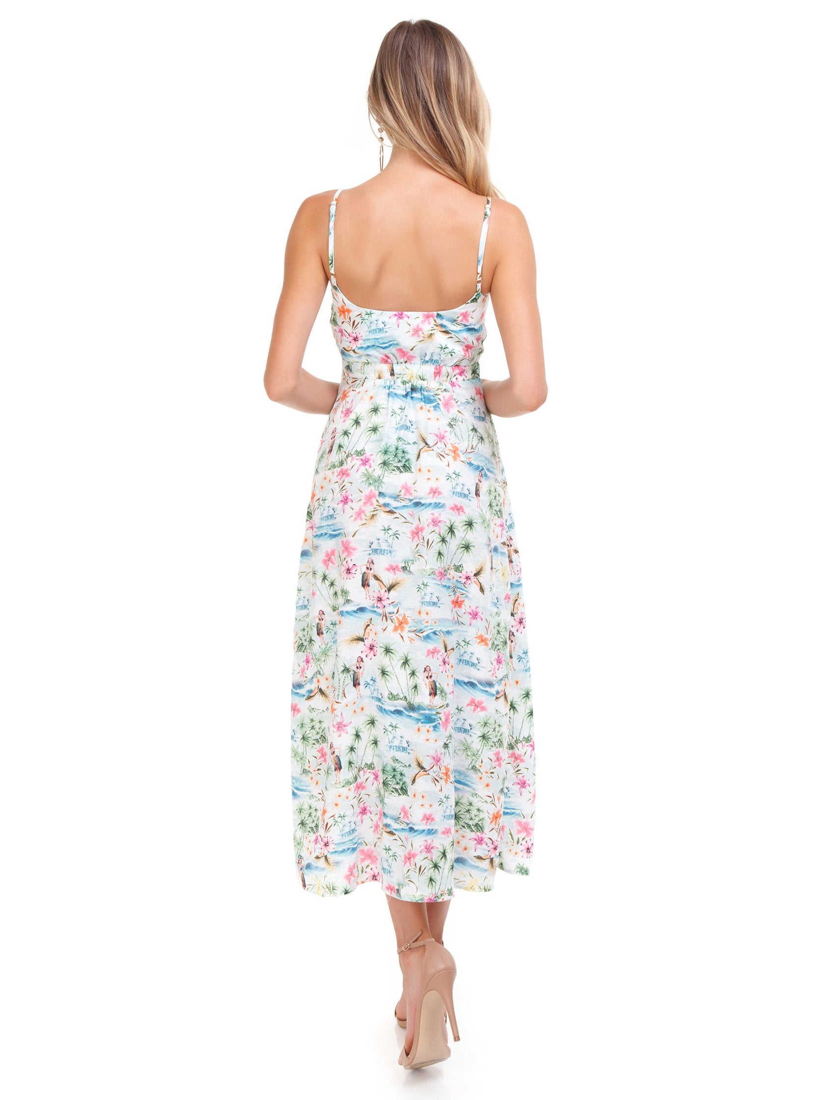 Women outfit in a dress rental from Show Me Your Mumu called Moby Tie Maxi - Tiki Time Gauze