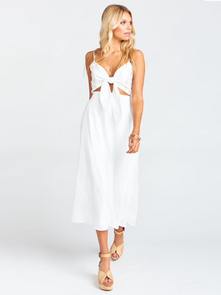 Women wearing a dress rental from Show Me Your Mumu called Moby Tie Maxi - Tiki Time Gauze