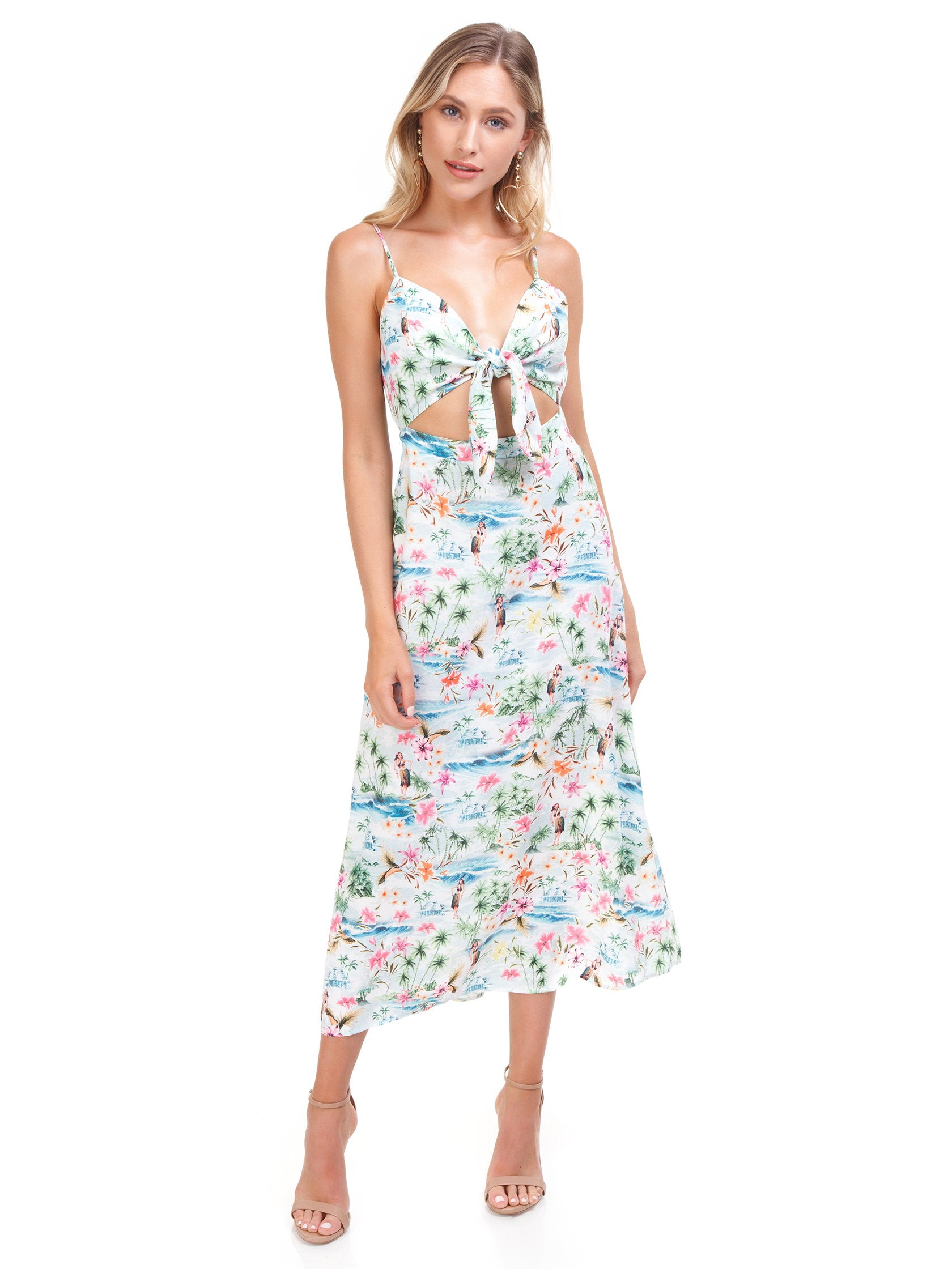 Woman wearing a dress rental from Show Me Your Mumu called Moby Tie Maxi - Tiki Time Gauze