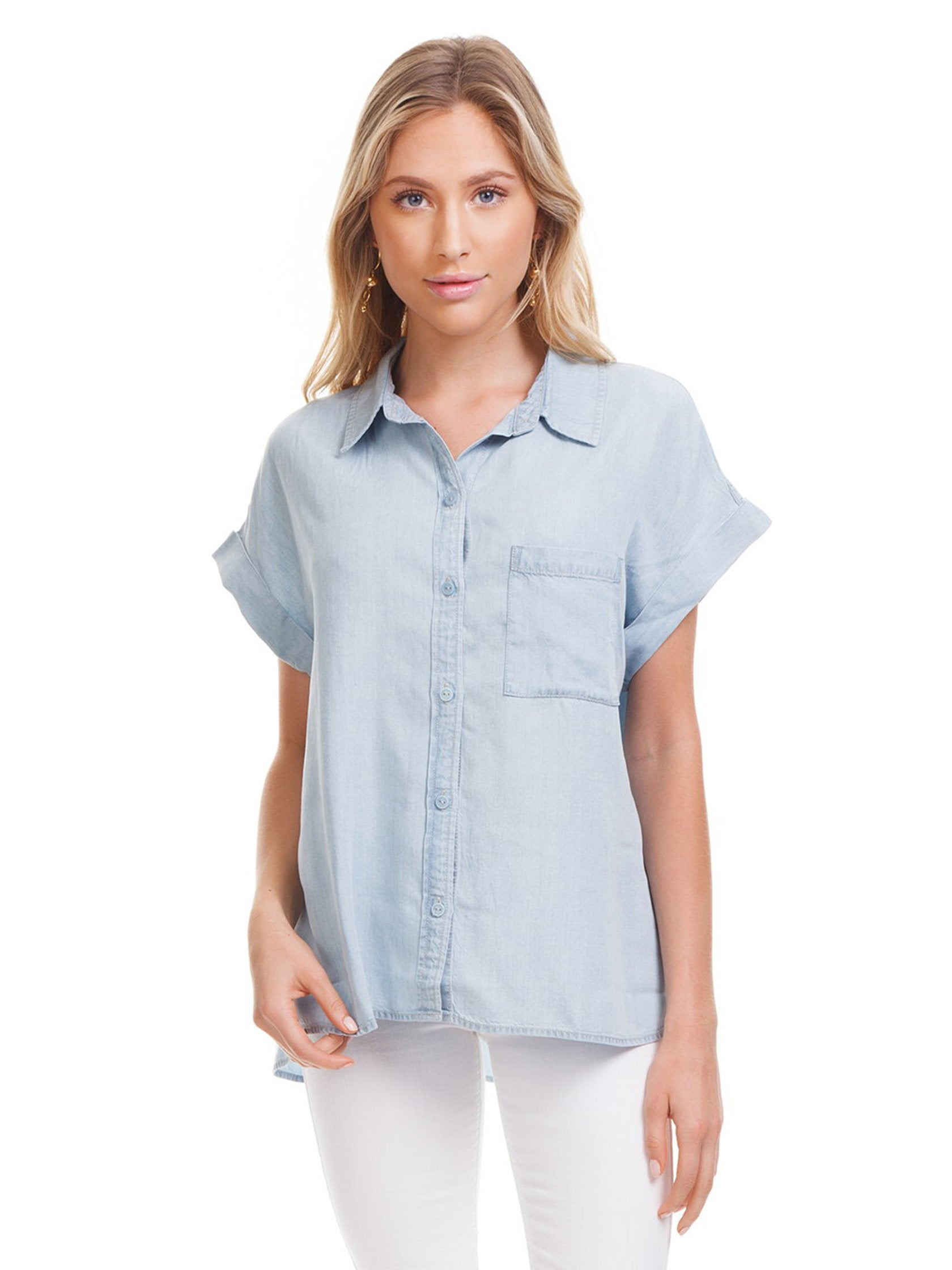 Woman wearing a top rental from SANCTUARY called Mod Short Sleeve Boyfriend Shirt