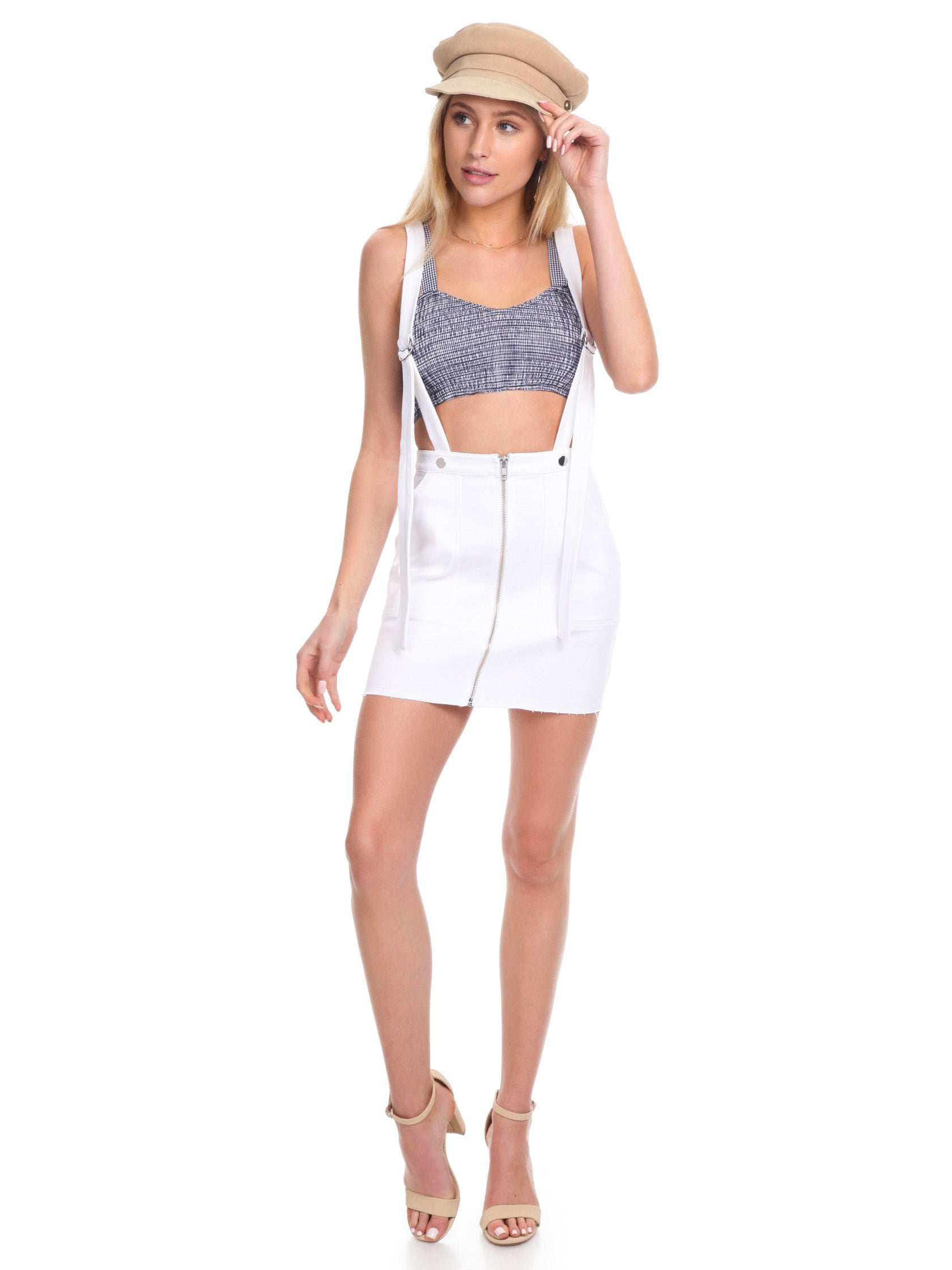 50c5a58c77 Women outfit in a skirt rental from For Love   Lemons called Monika  Overalls Mini Skirt