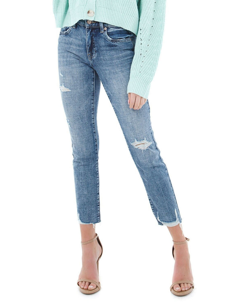 Women outfit in a denim rental from PISTOLA called Tracy Cropped Moto Jacket