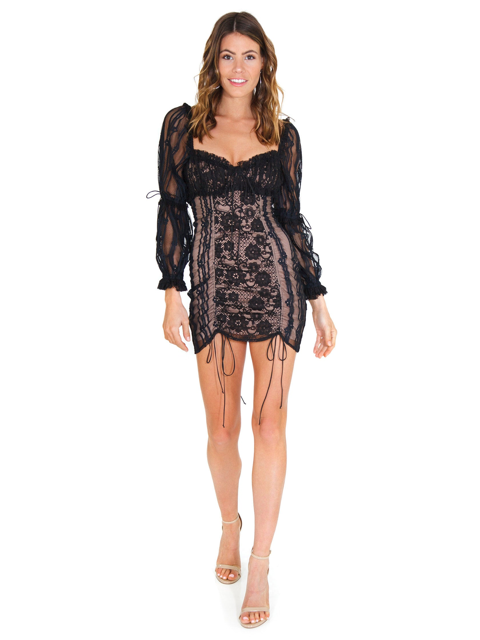 96a5f281c3fe Girl outfit in a dress rental from For Love & Lemons called Monroe Mini  Dress