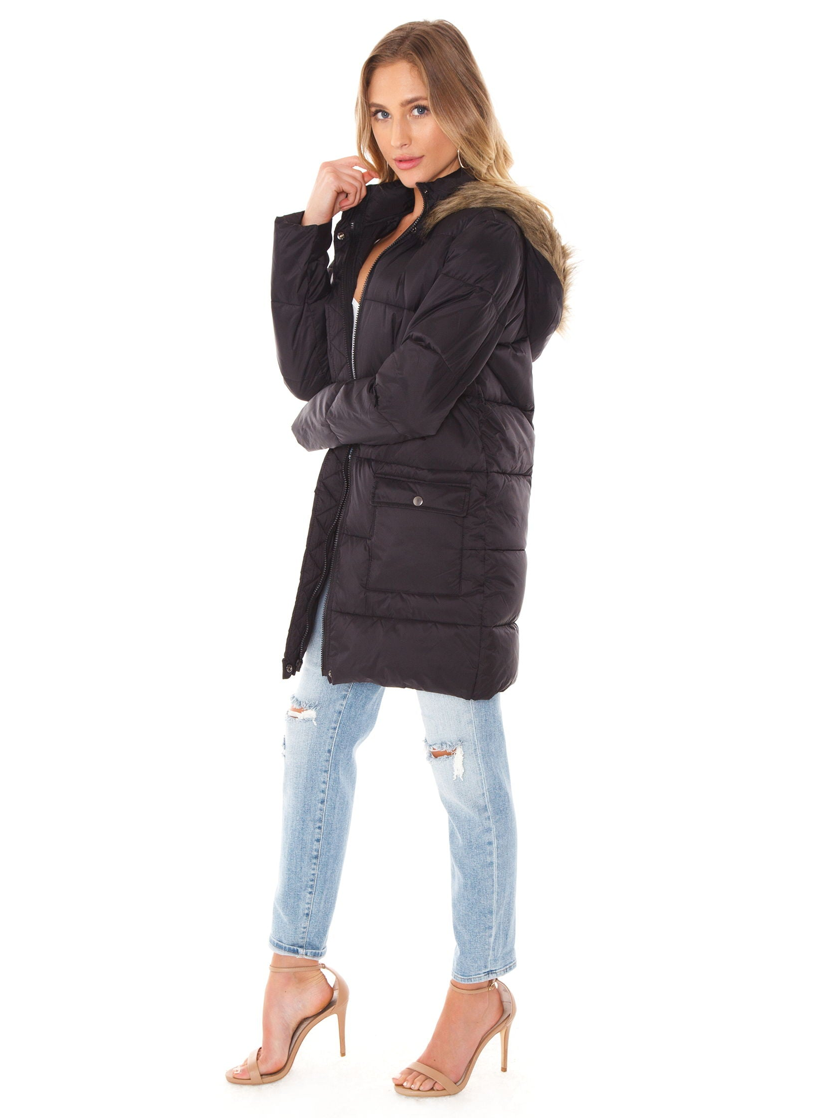 Woman wearing a jacket rental from BB Dakota called Moon Walker Puffer Jacket
