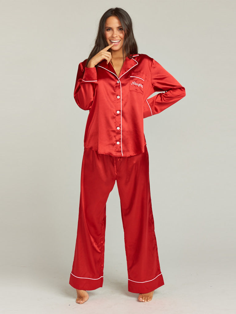 Woman wearing a pajamas rental from Show Me Your Mumu called Archie Trousers