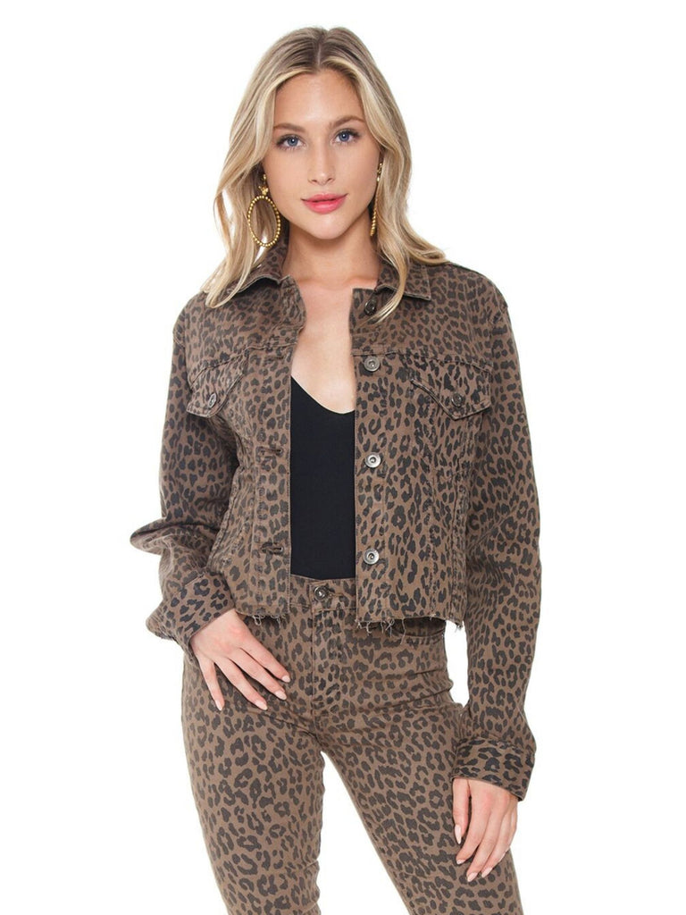 Women outfit in a jacket rental from PISTOLA called Cheetah Printed Denim Jacket