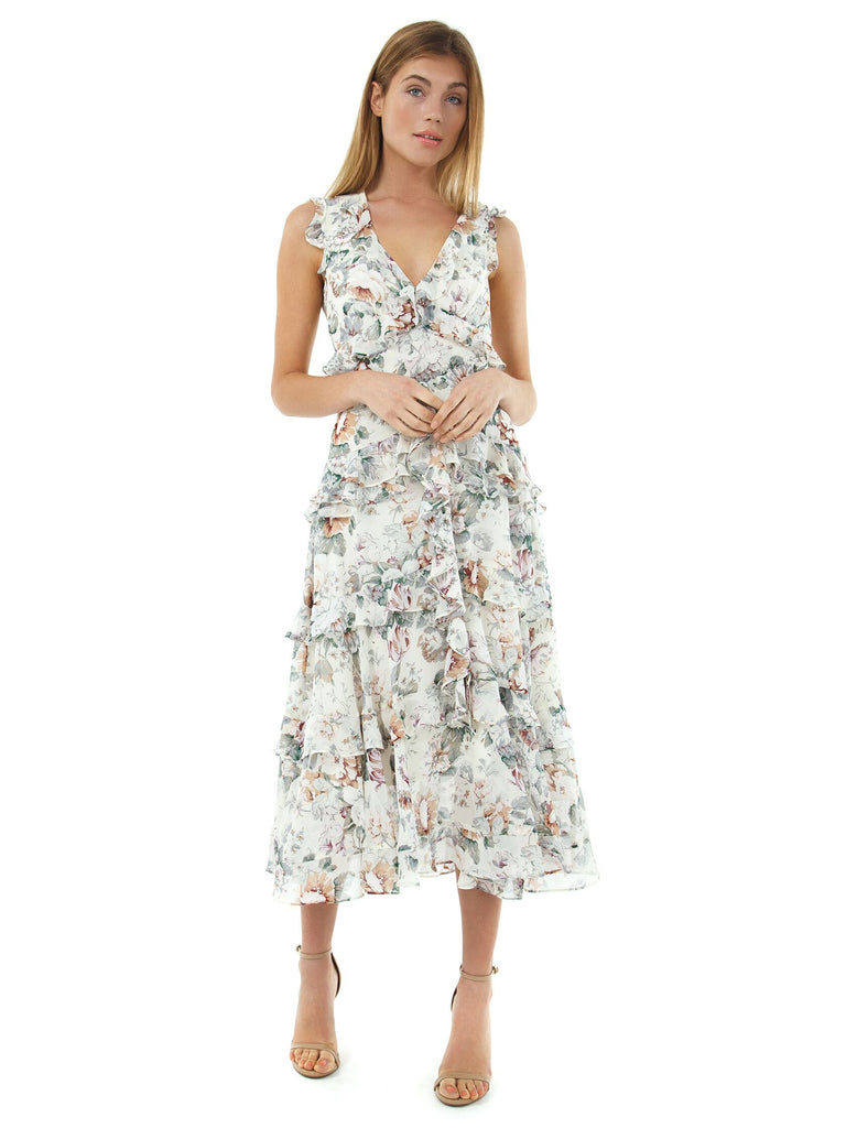 Women outfit in a dress rental from BARDOT called Full Bloom Maxi