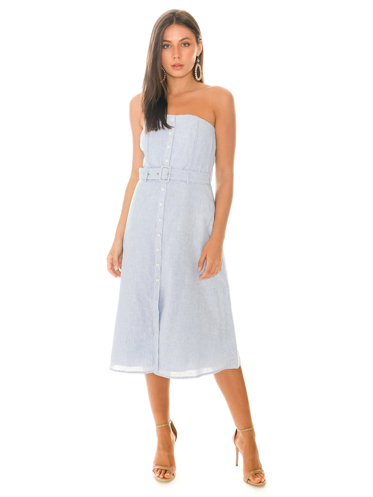 Women wearing a dress rental from BB Dakota called Rib Henley Shirttail Dress
