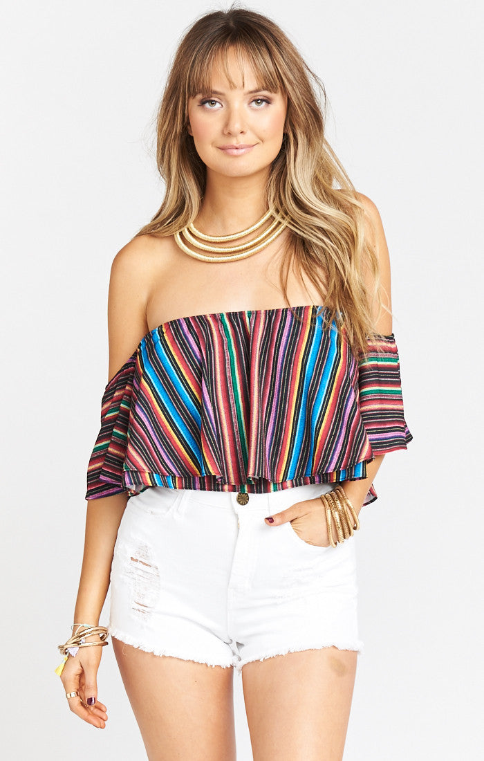 Woman wearing a top rental from Show Me Your Mumu called Nica Ruffle Top