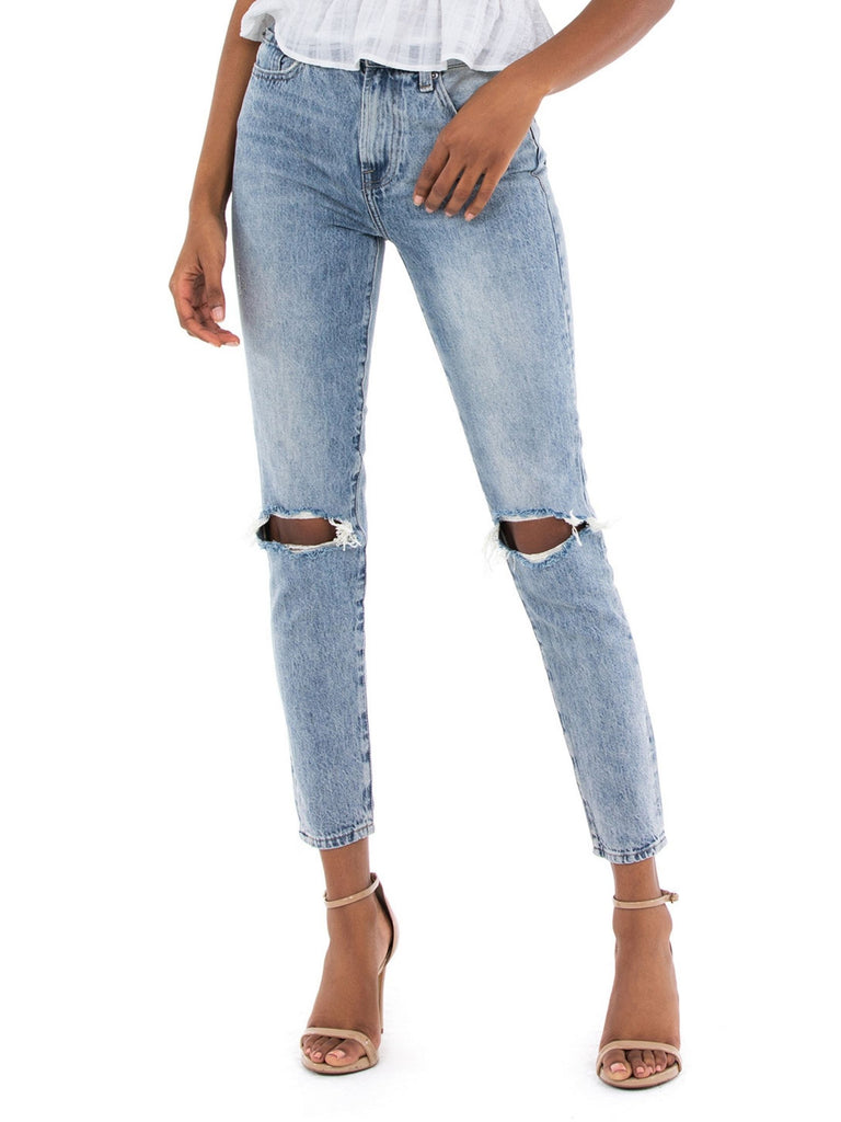 Women wearing a bottoms rental from PISTOLA called Nico High Rise Mom Jean