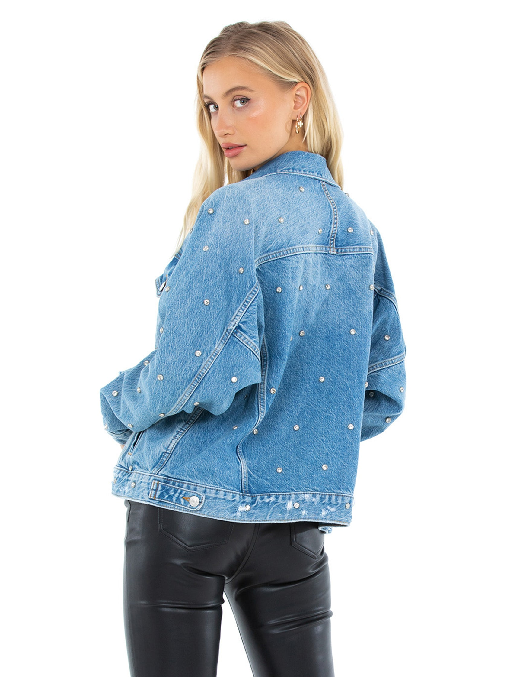 Women outfit in a jacket rental from Free People called Night After Night Denim Jacket