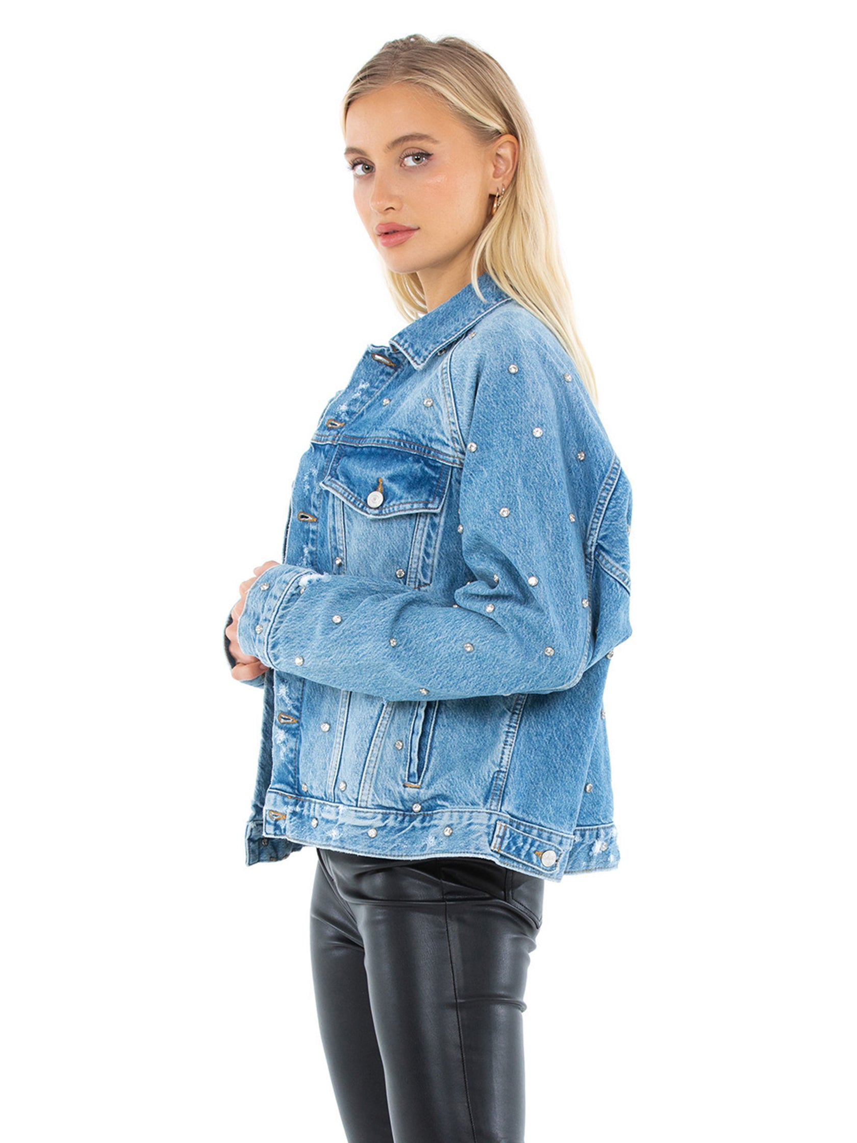 Women wearing a jacket rental from Free People called Night After Night Denim Jacket