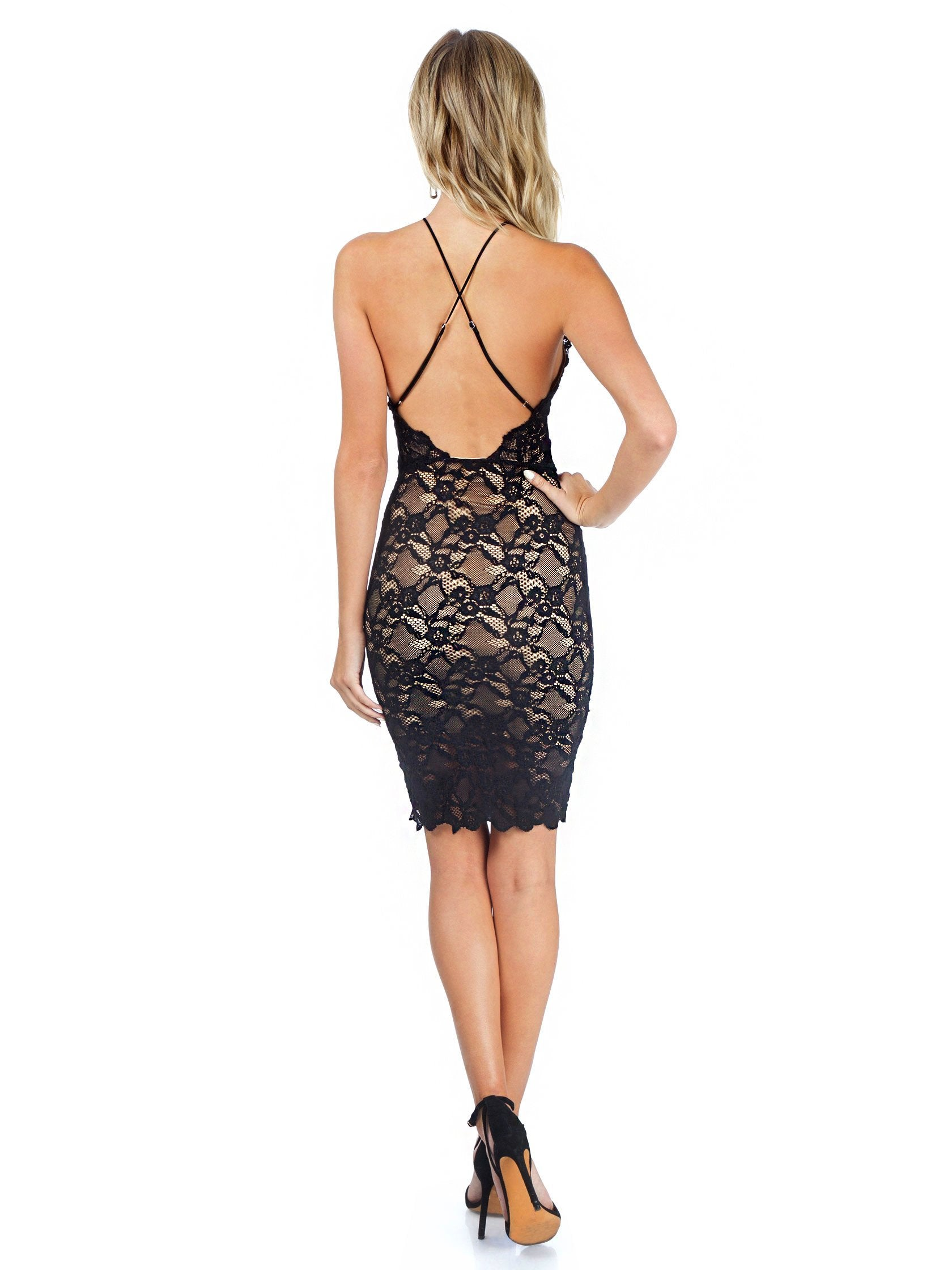 Women outfit in a dress rental from Nightcap Clothing called Black Drive Me Home Mini Dress