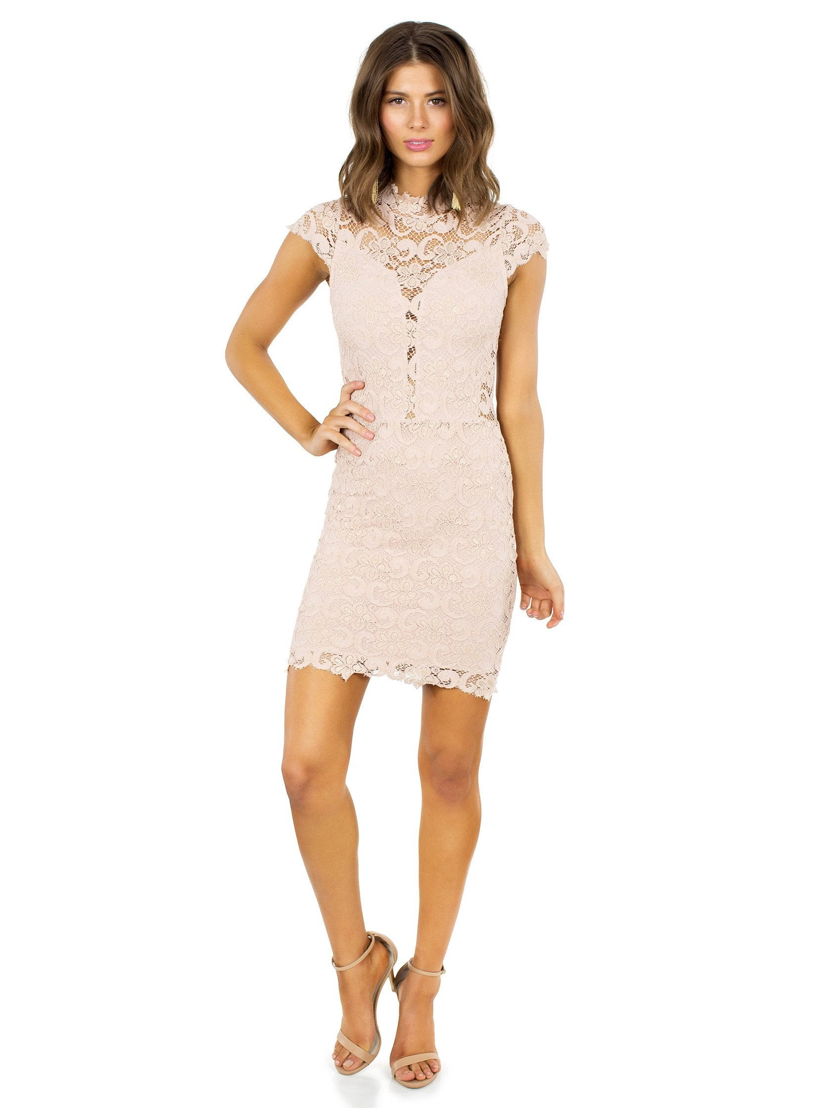Women outfit in a dress rental from Nightcap Clothing called Dixie Lace 16th District Mini Dress
