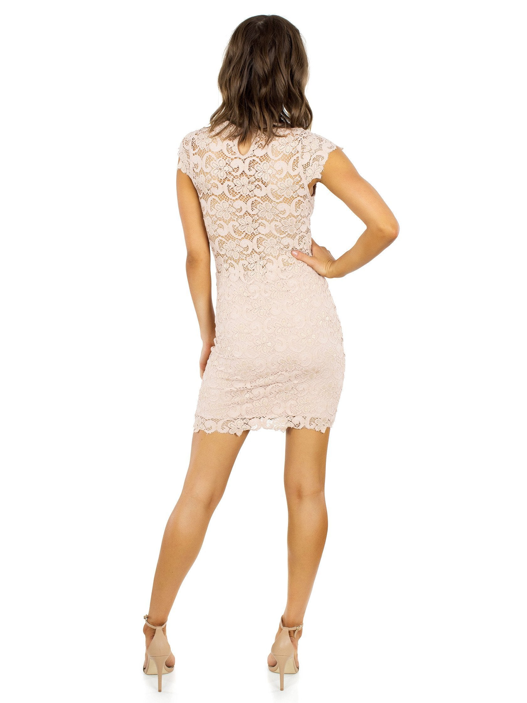 Women wearing a dress rental from Nightcap Clothing called Dixie Lace 16th District Mini Dress
