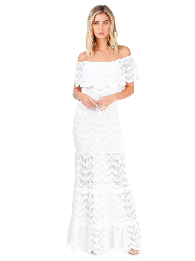 Women wearing a dress rental from Nightcap Clothing called Fiesta Fan Lace Positano Maxi