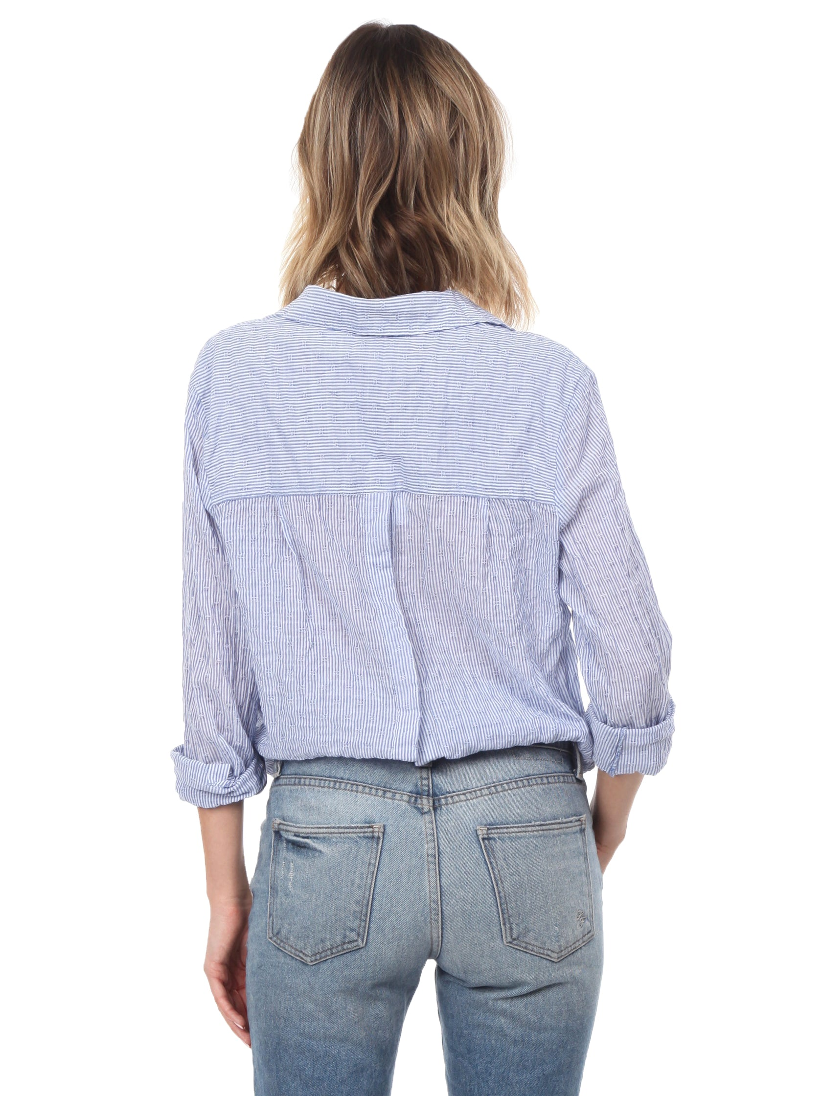 Girl outfit in a top rental from Free People called No Limits Stripe Stretch Cotton Shirt