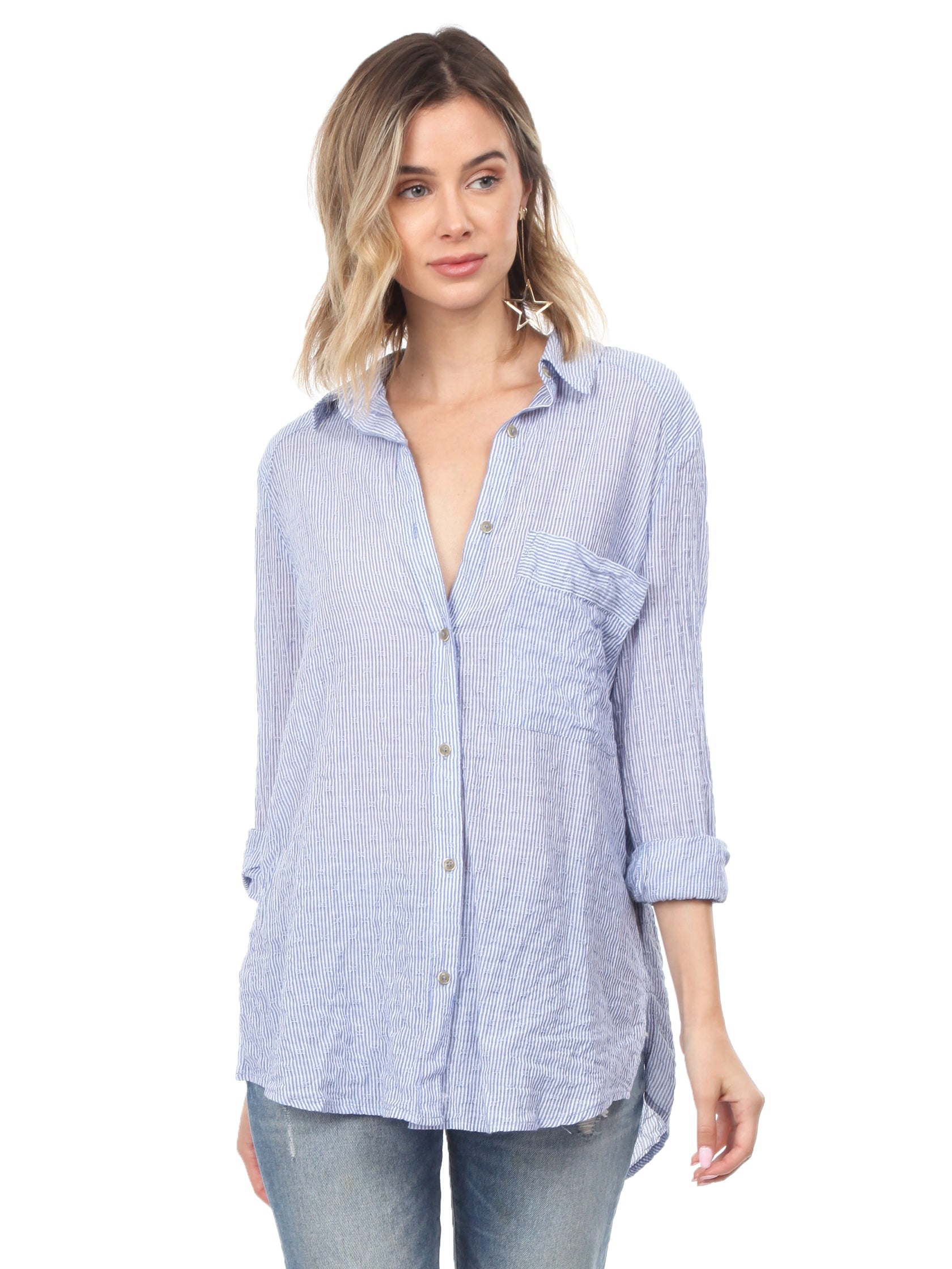 Women outfit in a top rental from Free People called No Limits Stripe Stretch Cotton Shirt