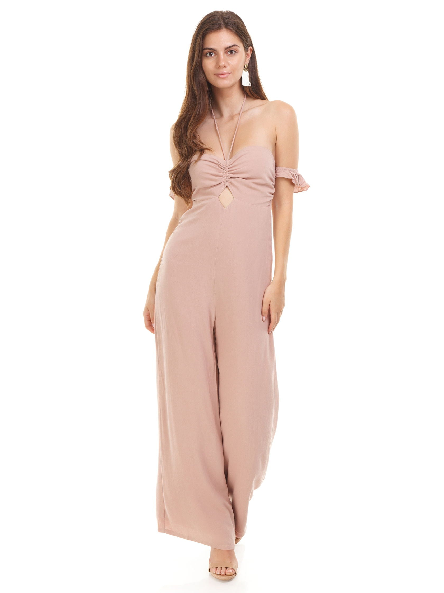 Girl outfit in a jumpsuit rental from Sadie & Sage called Off Shoulder Babydoll Jumpsuit