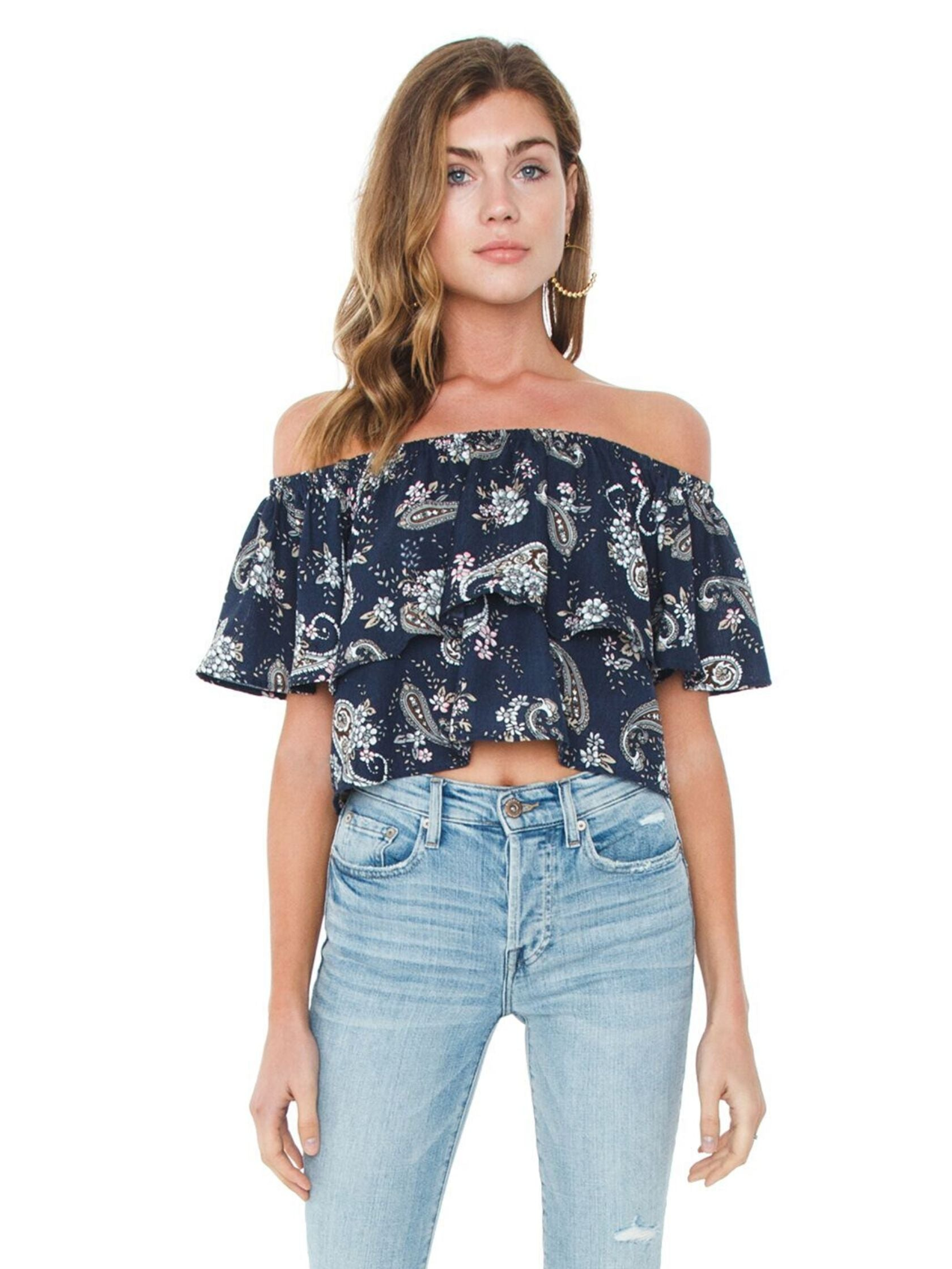 Woman wearing a top rental from J.O.A. called Off Shoulder Top