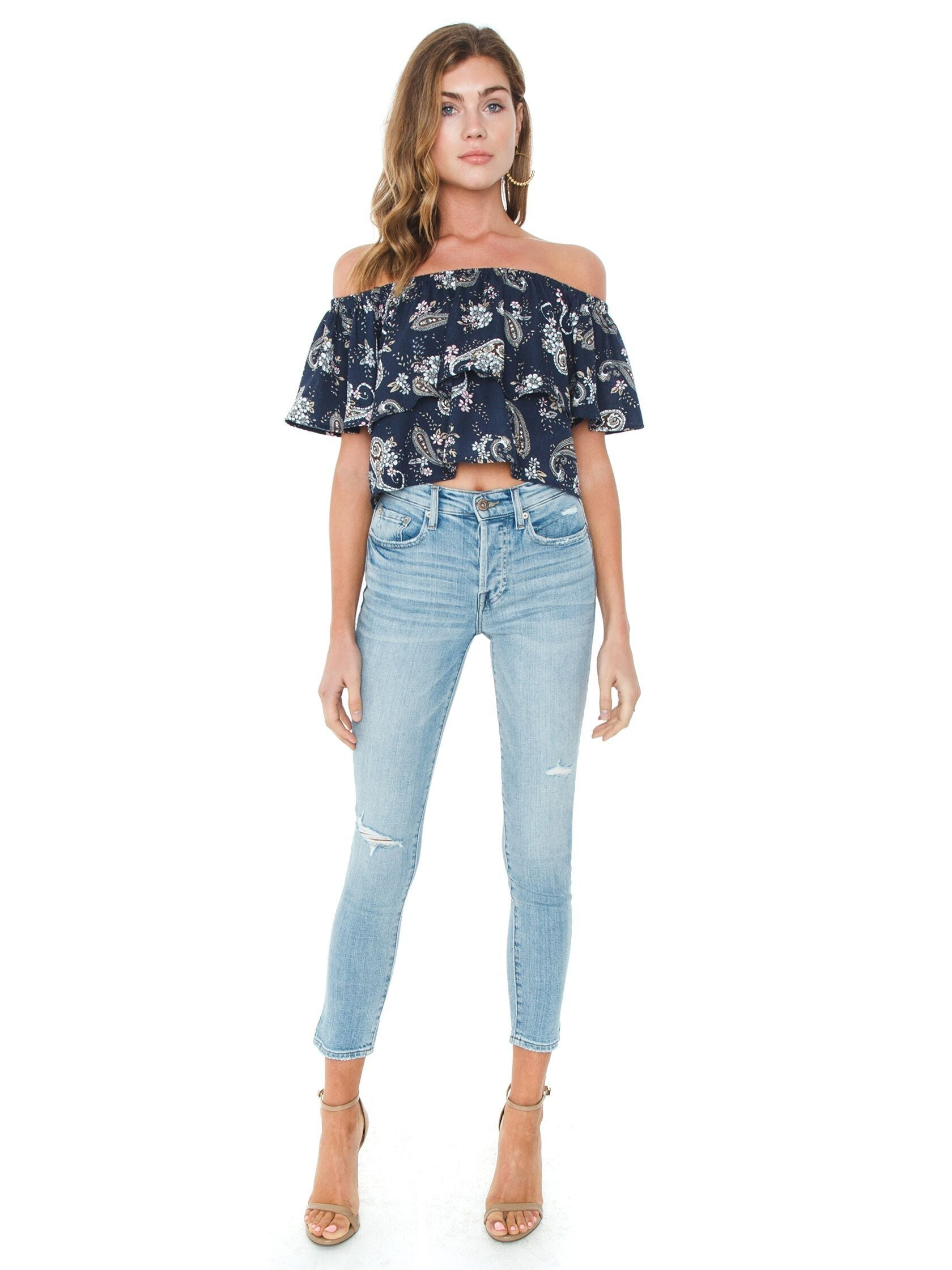 Girl wearing a top rental from J.O.A. called Off Shoulder Top