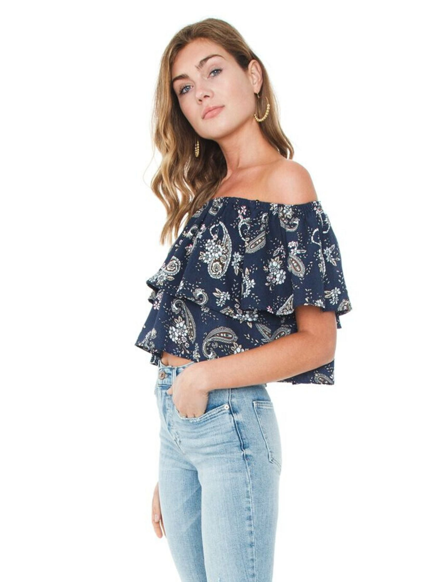 Women wearing a top rental from J.O.A. called Off Shoulder Top