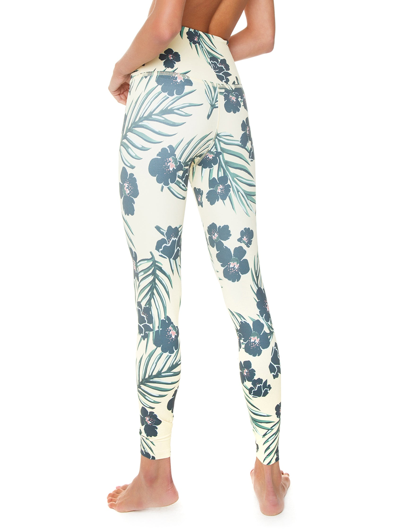 dd062fc39f Women outfit in a leggings rental from BEYOND YOGA called Olympus Floral  Sunrise High Waisted Midi