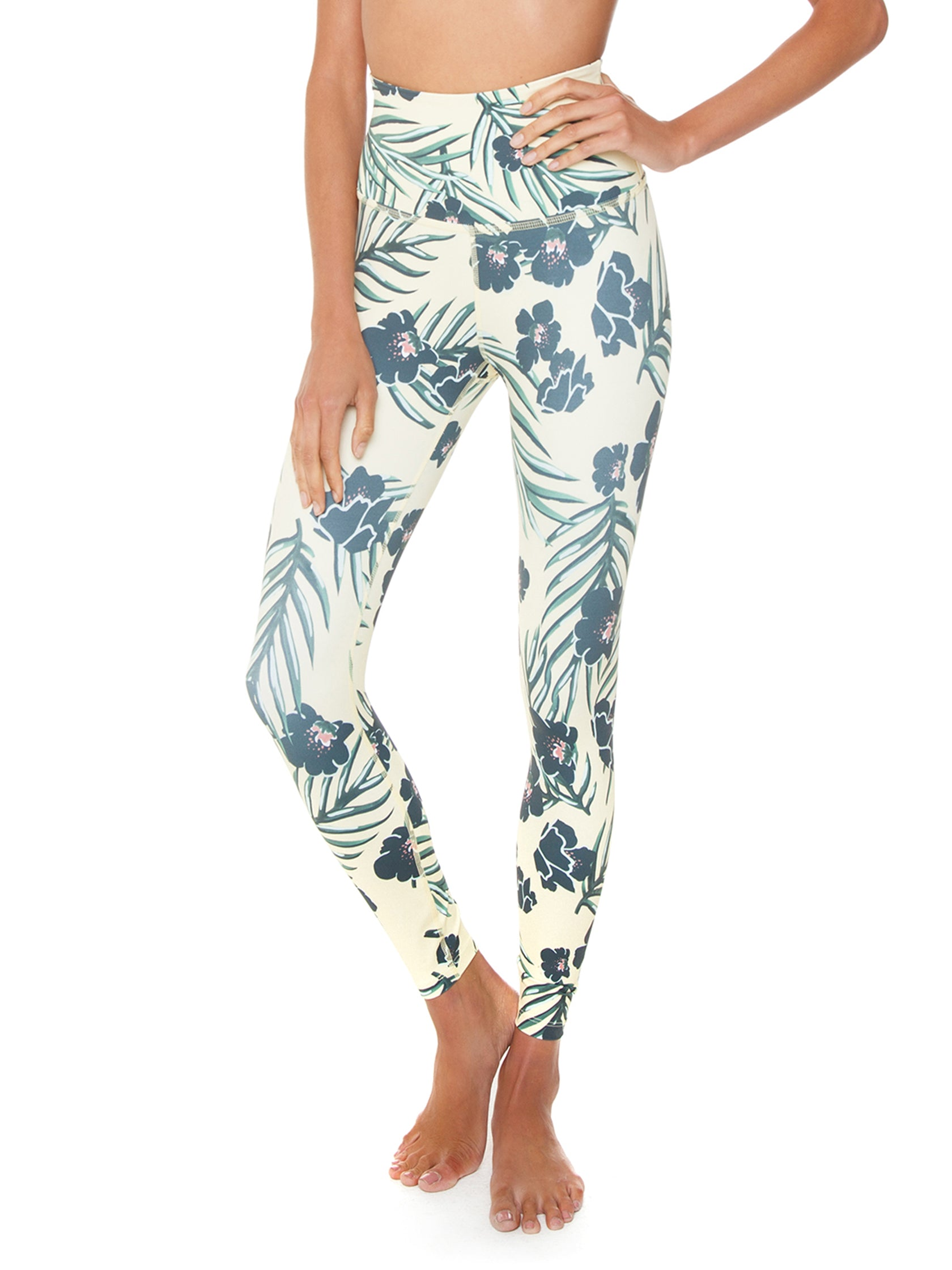 fdbcf190bd Girl outfit in a leggings rental from BEYOND YOGA called Olympus Floral  Sunrise High Waisted Midi