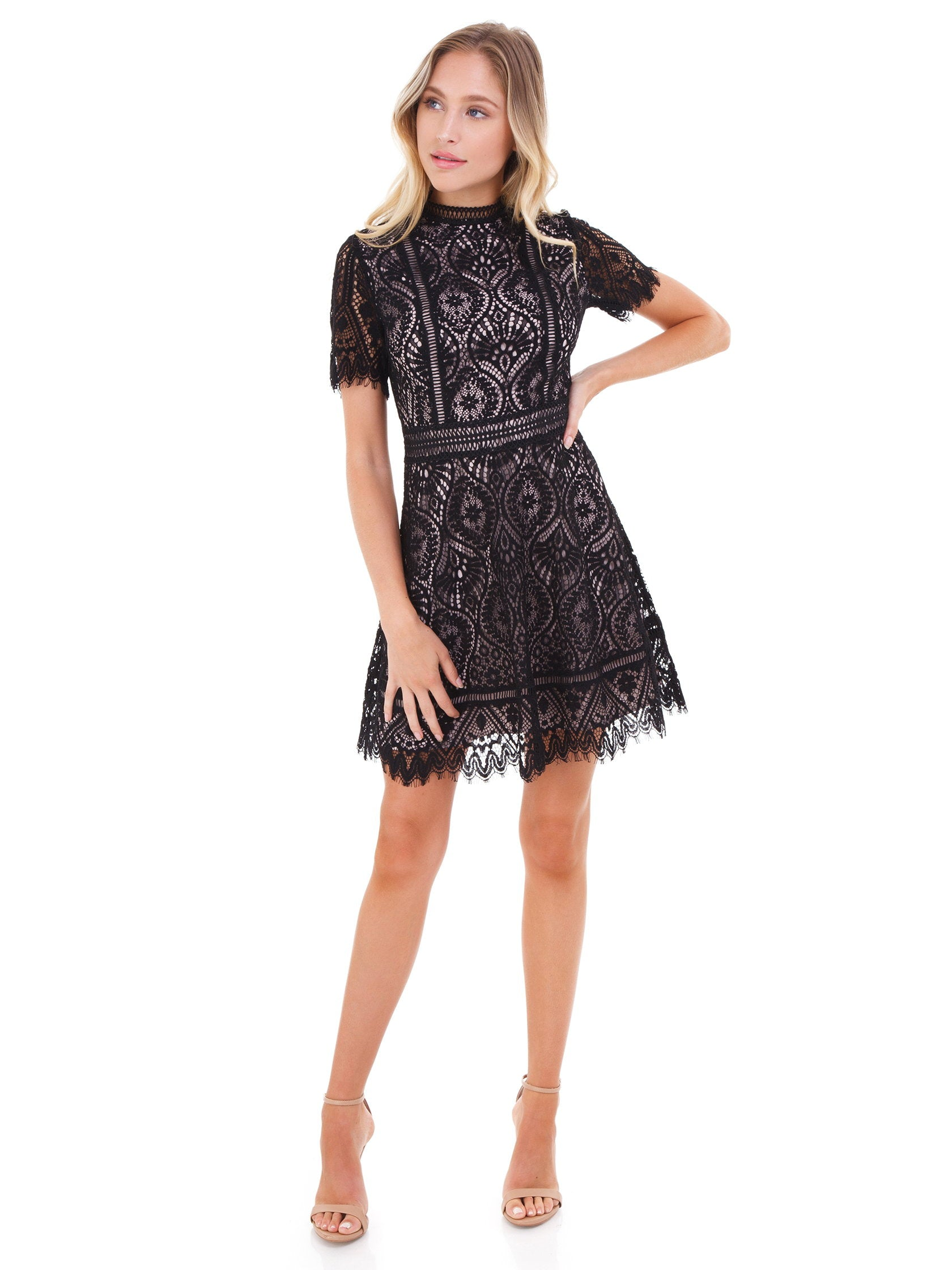 Girl outfit in a dress rental from BB Dakota called On The List Scalloped Dress