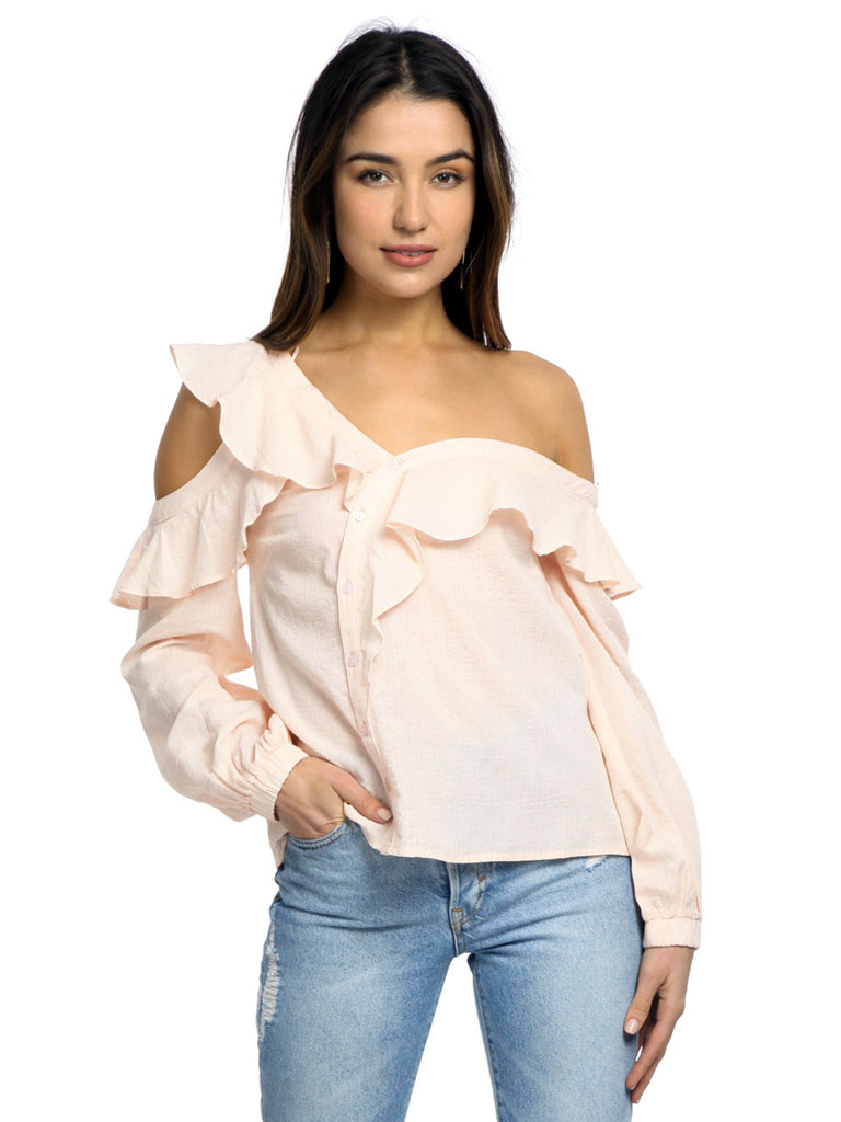 Women wearing a top rental from ASTR called Paige Off The Shoulder Blouse