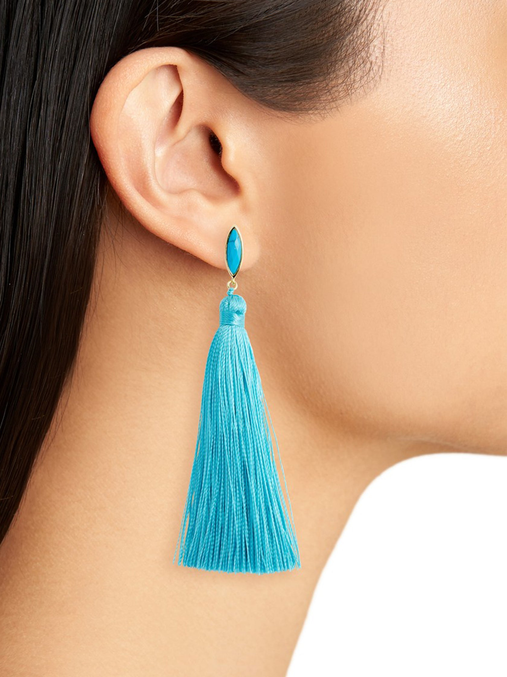Women wearing a earrings rental from Gorjana called Palisades Tassel Earrings