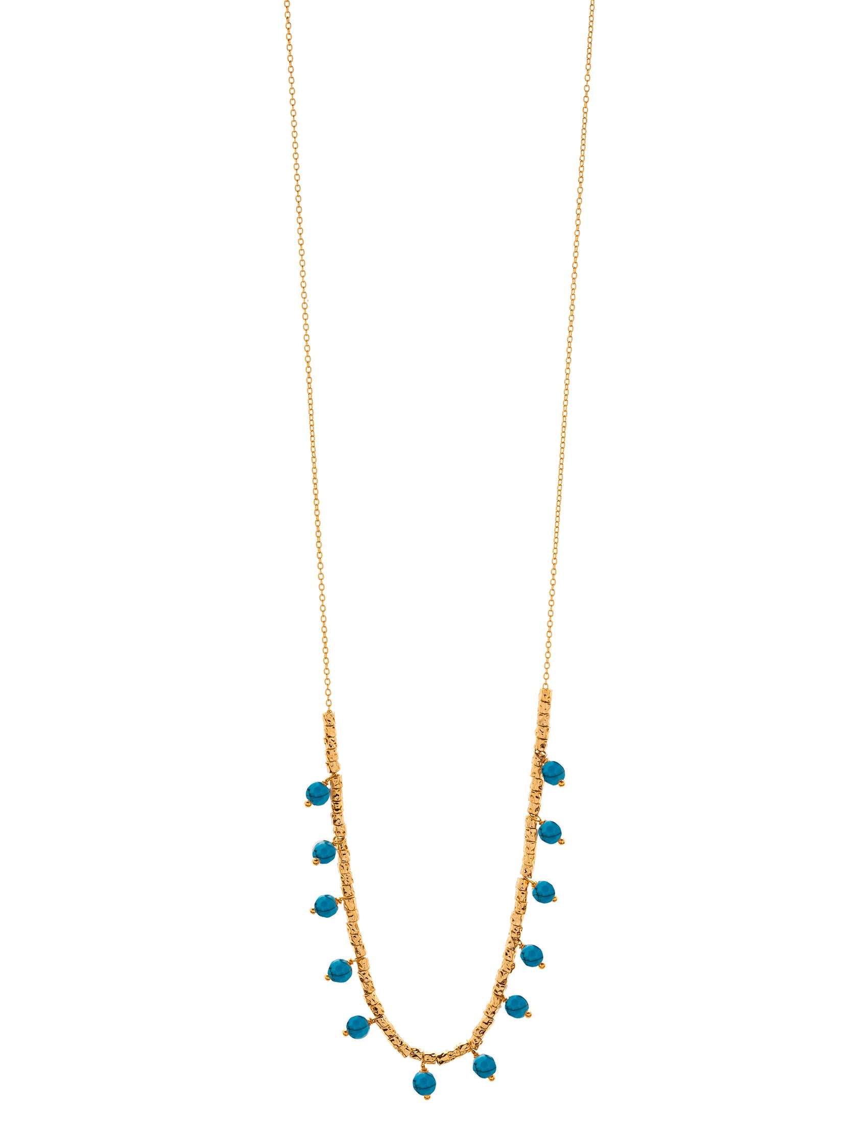 Women wearing a necklace rental from Gorjana called Palisades Turquoise Versatile Necklace