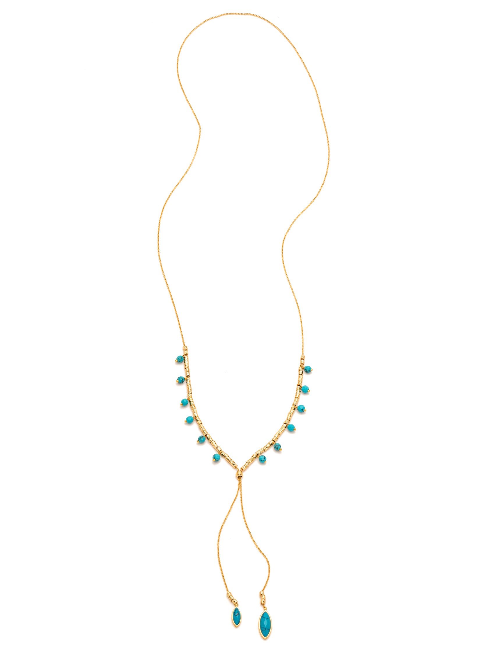 Woman wearing a necklace rental from Gorjana called Palisades Turquoise Versatile Necklace