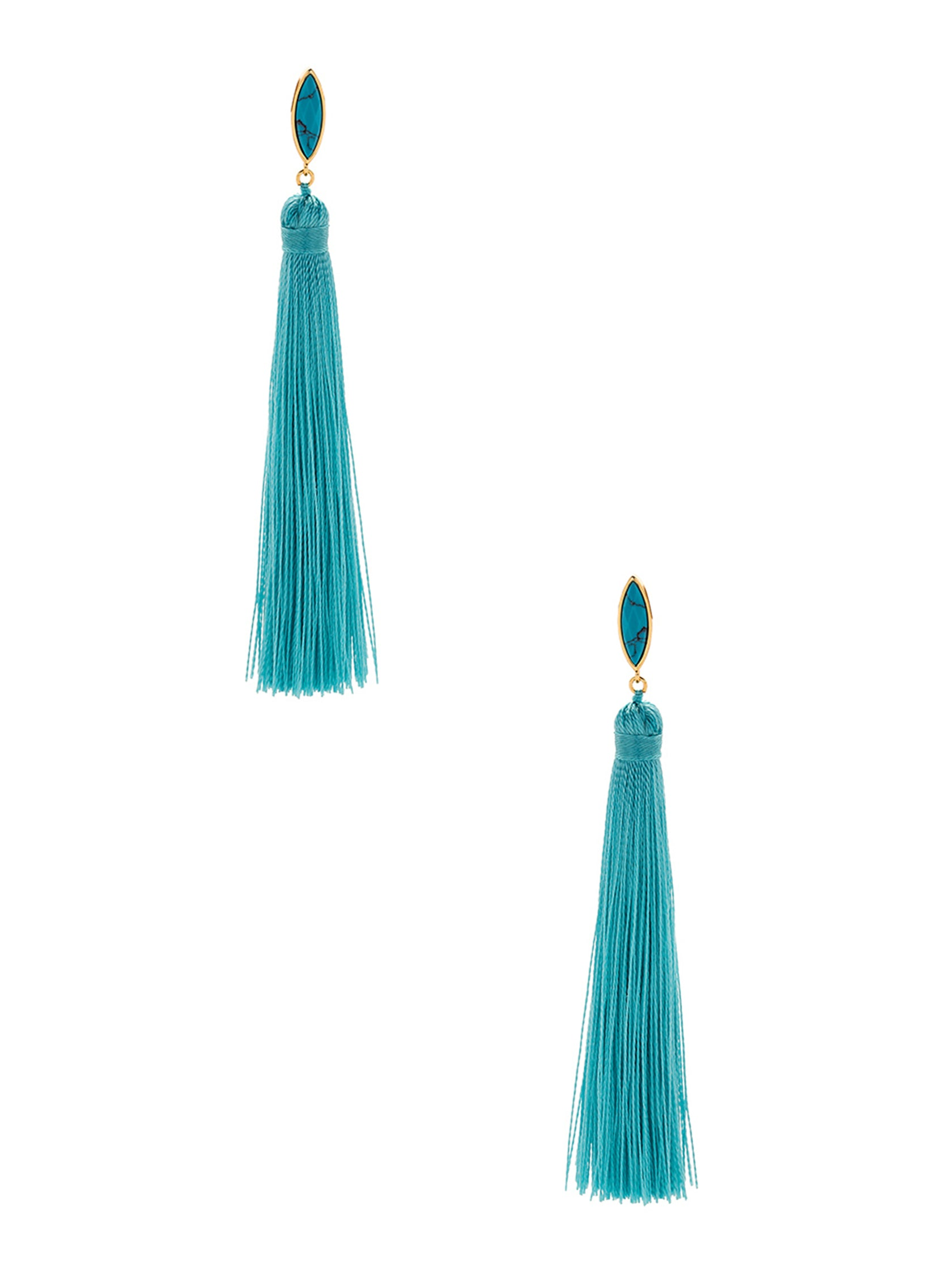 Woman wearing a earrings rental from Gorjana called Palisades Tassel Earrings