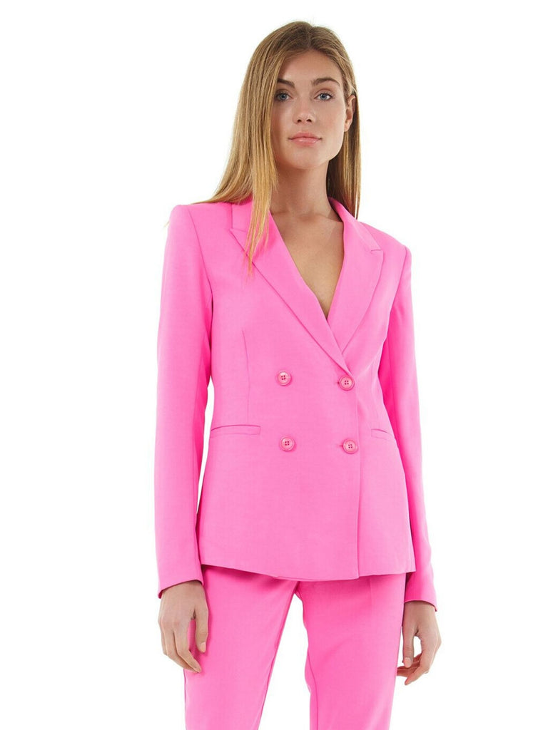 Woman wearing a blazer rental from BARDOT called Madison Frill Dress