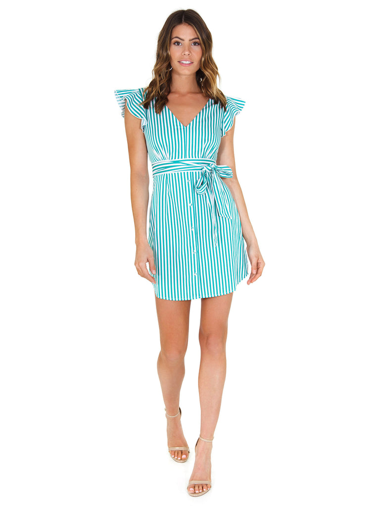 Women wearing a dress rental from BB Dakota called Peppermint Stripe Dress