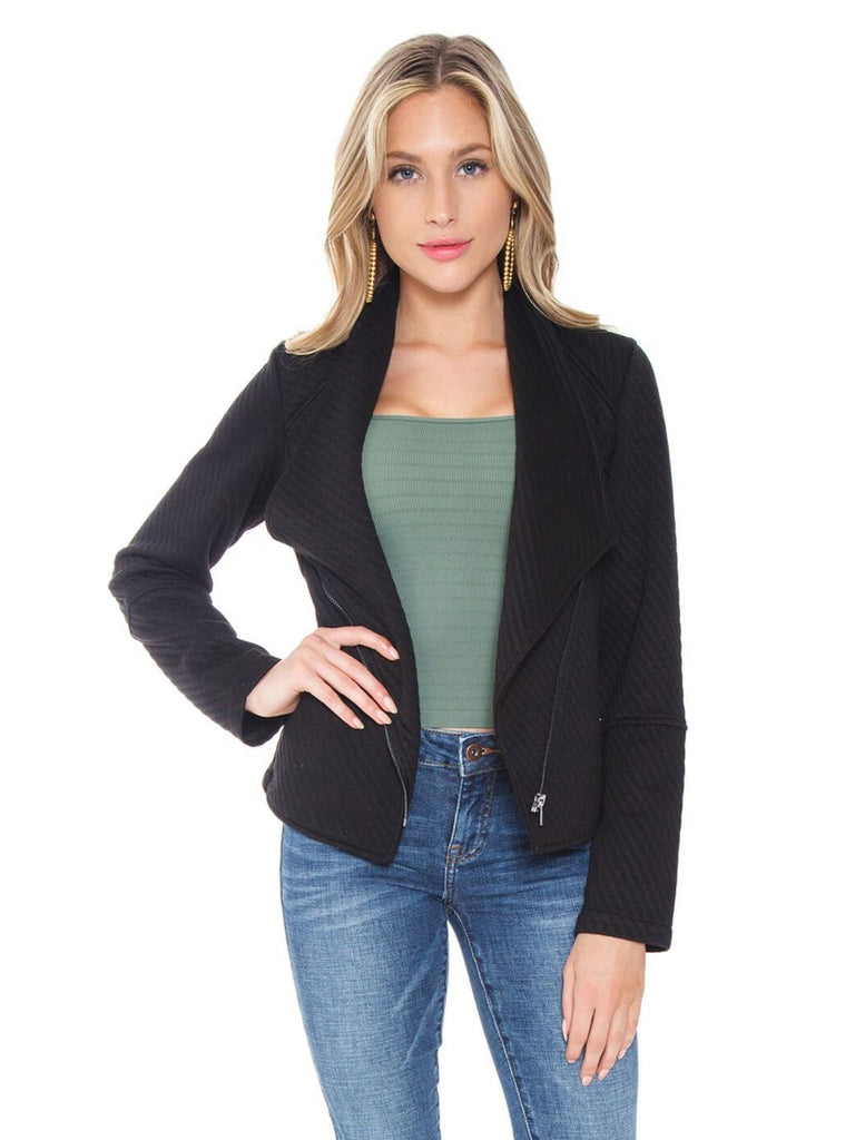 Women wearing a jacket rental from BB Dakota called Mahi Drawstring Top