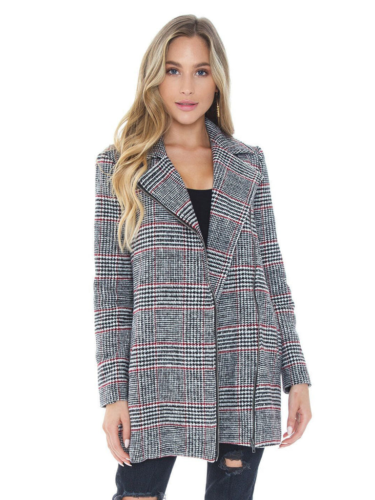 Women wearing a jacket rental from BB Dakota called Plaid News Coat