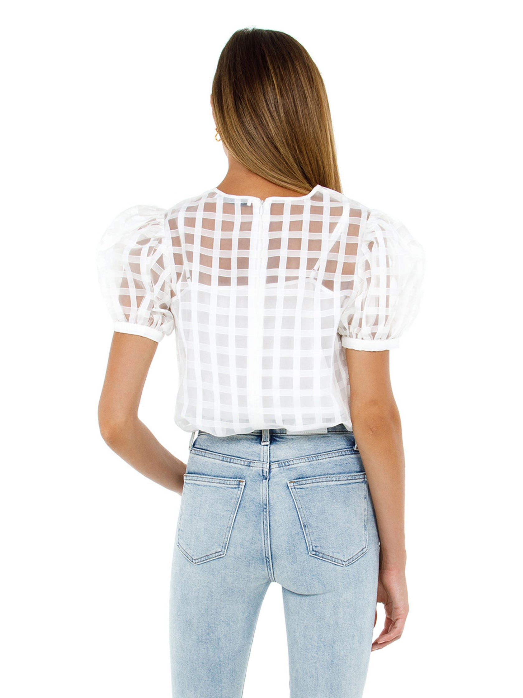 Women outfit in a top rental from English Factory called Plaid See Through Top