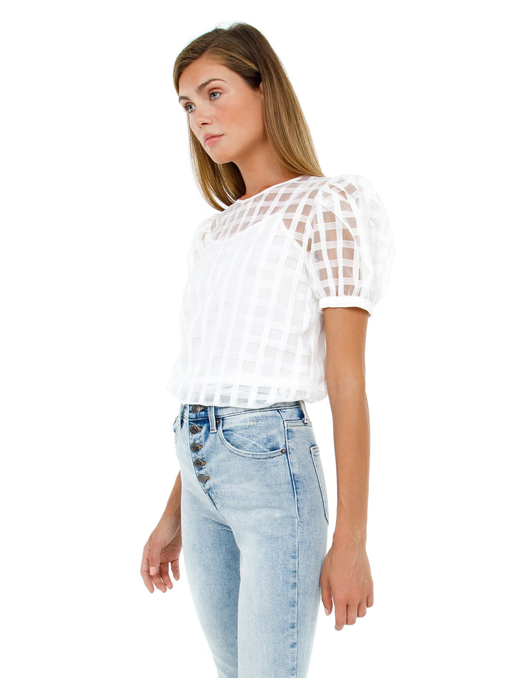 Women wearing a top rental from English Factory called Plaid See Through Top