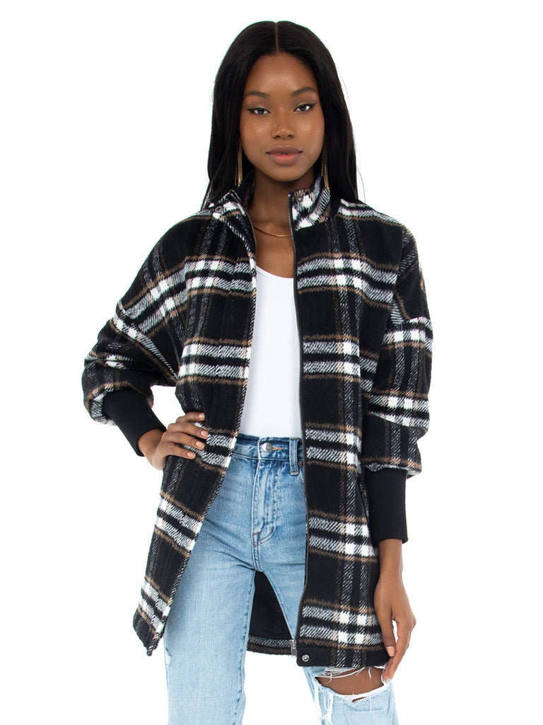 Women wearing a coat rental from BB Dakota called Plaid Times Coat