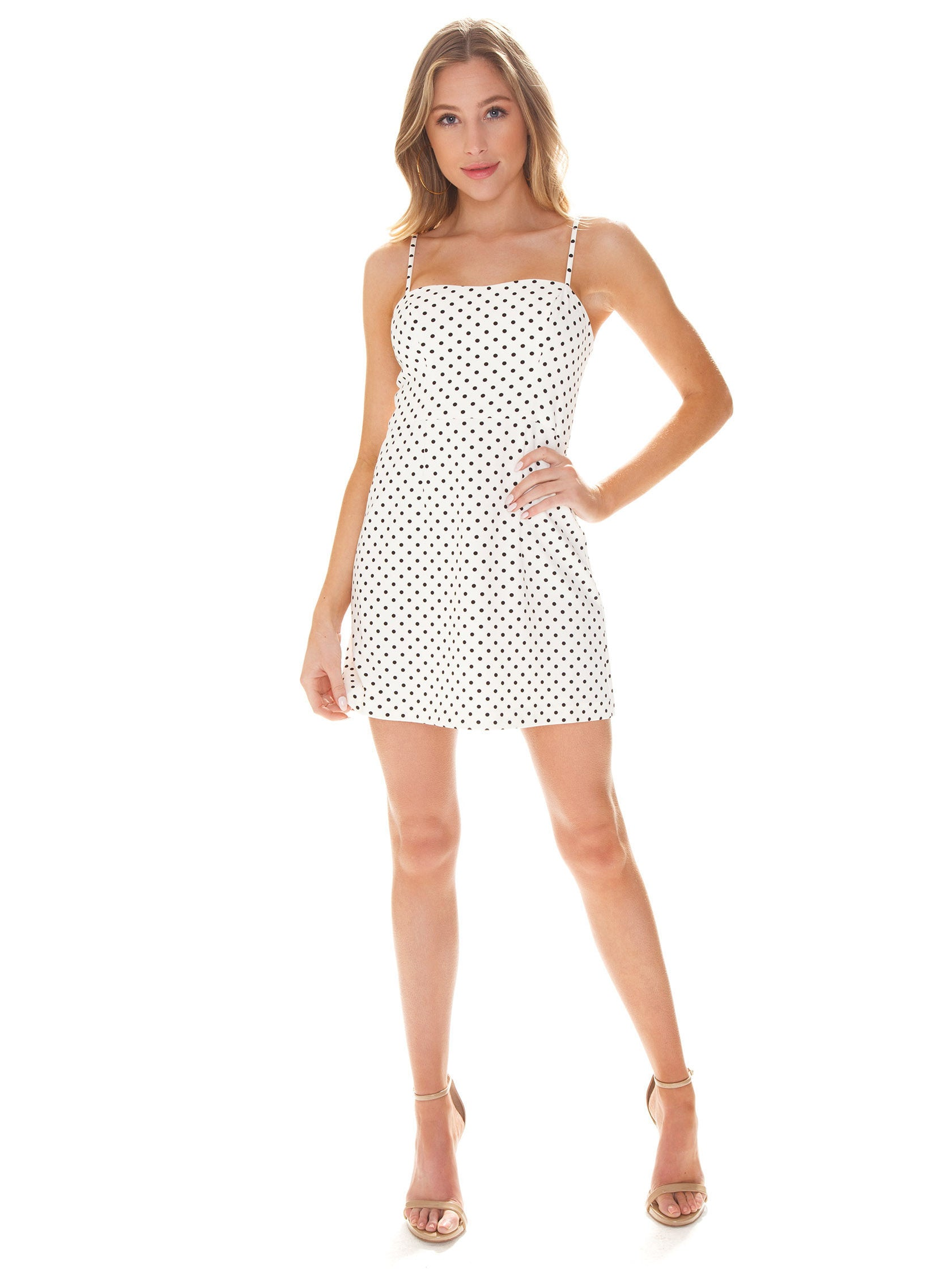Women outfit in a dress rental from French Connection called Polka Dot Whisper Dress